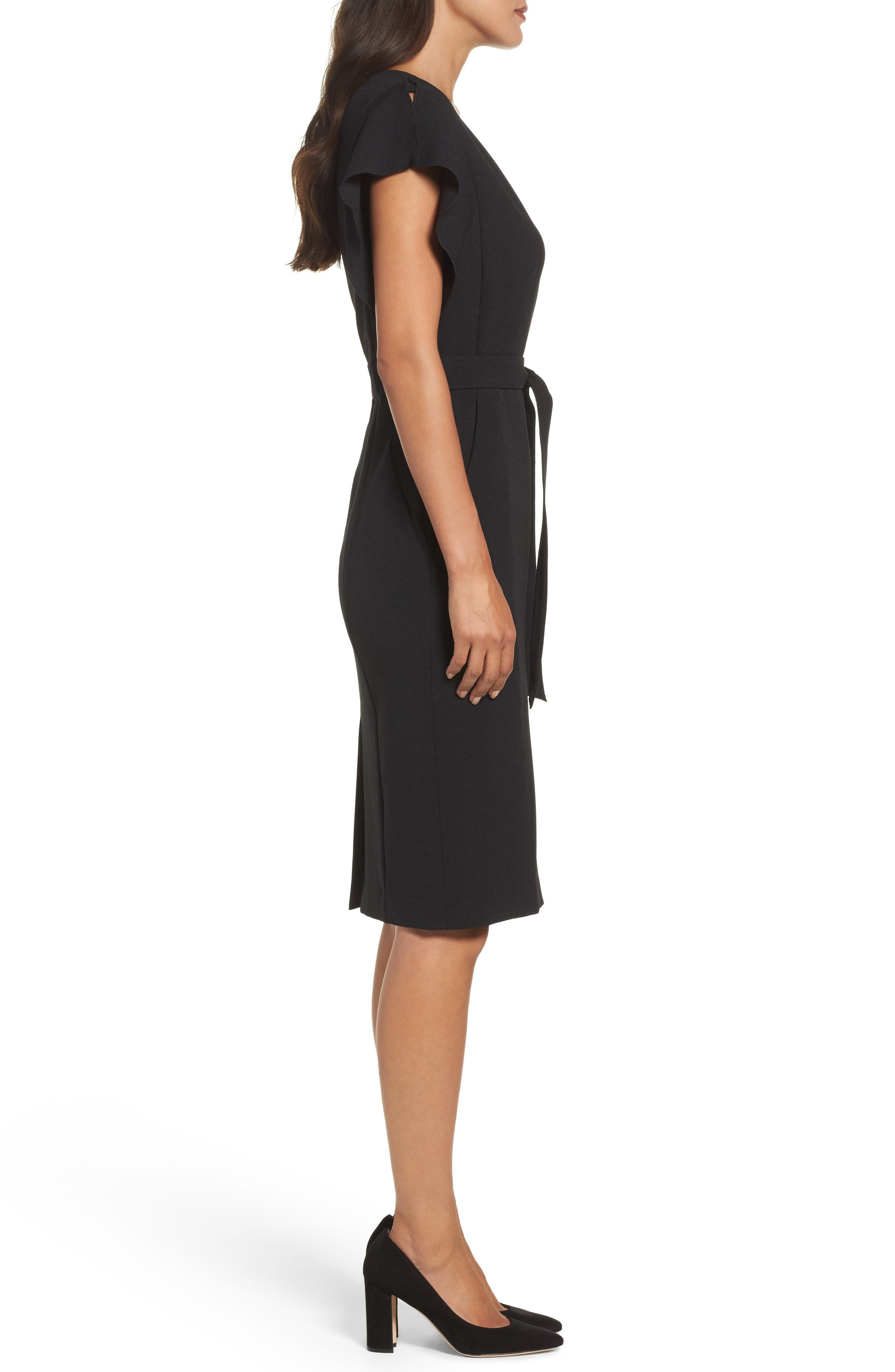 Ruffle Sleeve Sheath Dress,                             Alternate thumbnail 3, color,                             Black