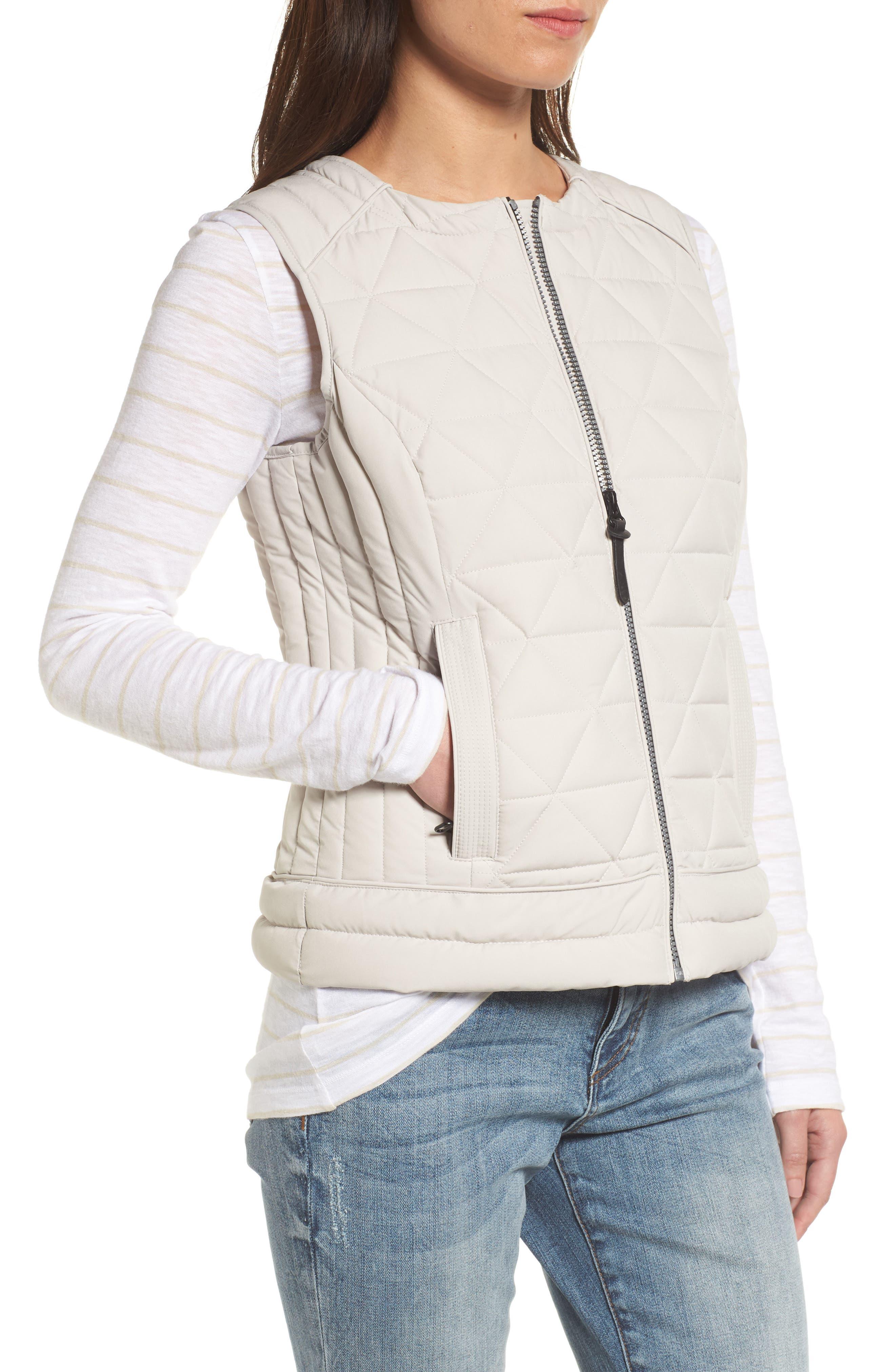 Sage Hooded Quilted Vest,                             Alternate thumbnail 4, color,                             Fog