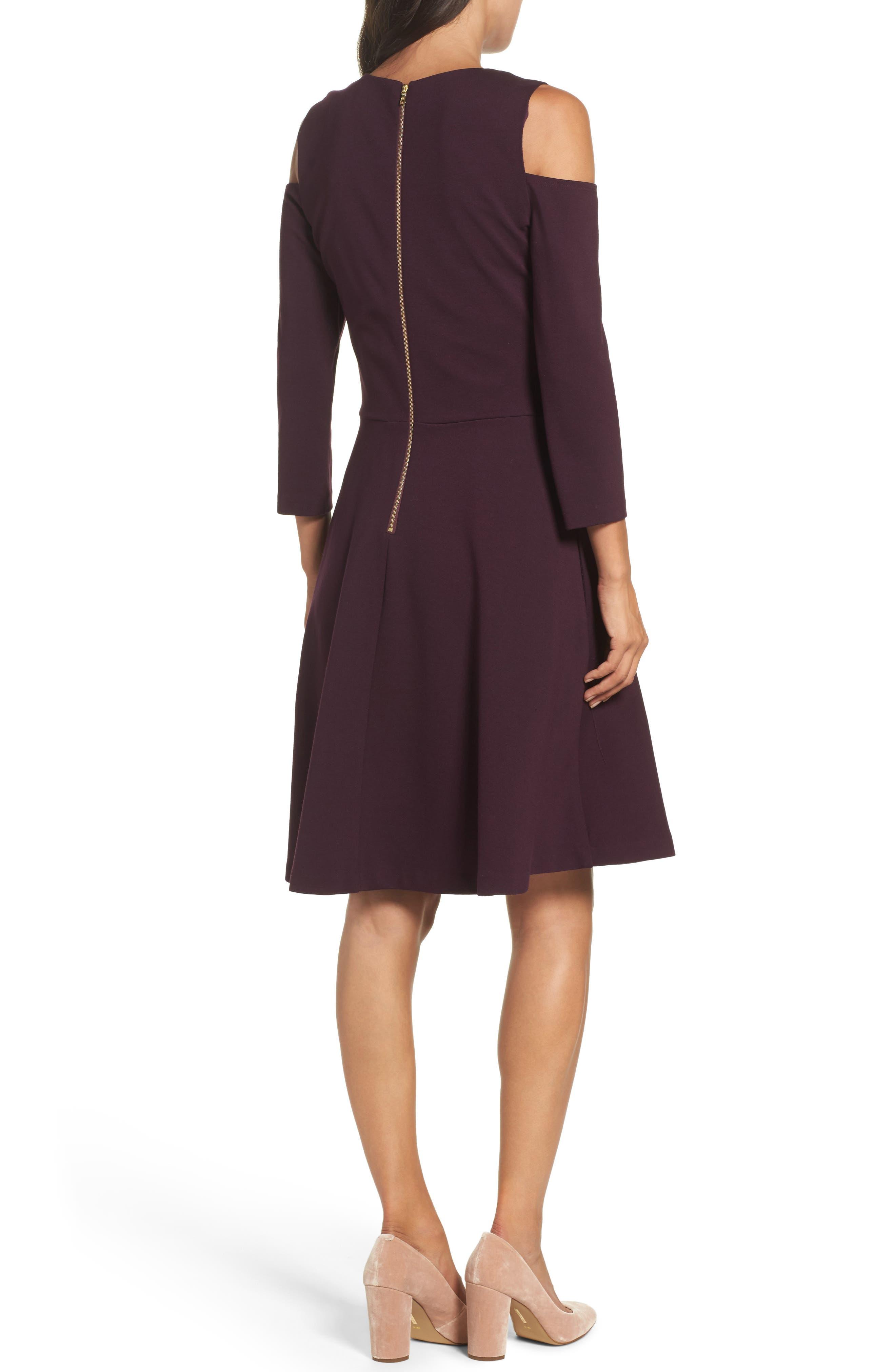 Alternate Image 2  - Eliza J Cold Shoulder Fit & Flare Dress (Regular & Petite)
