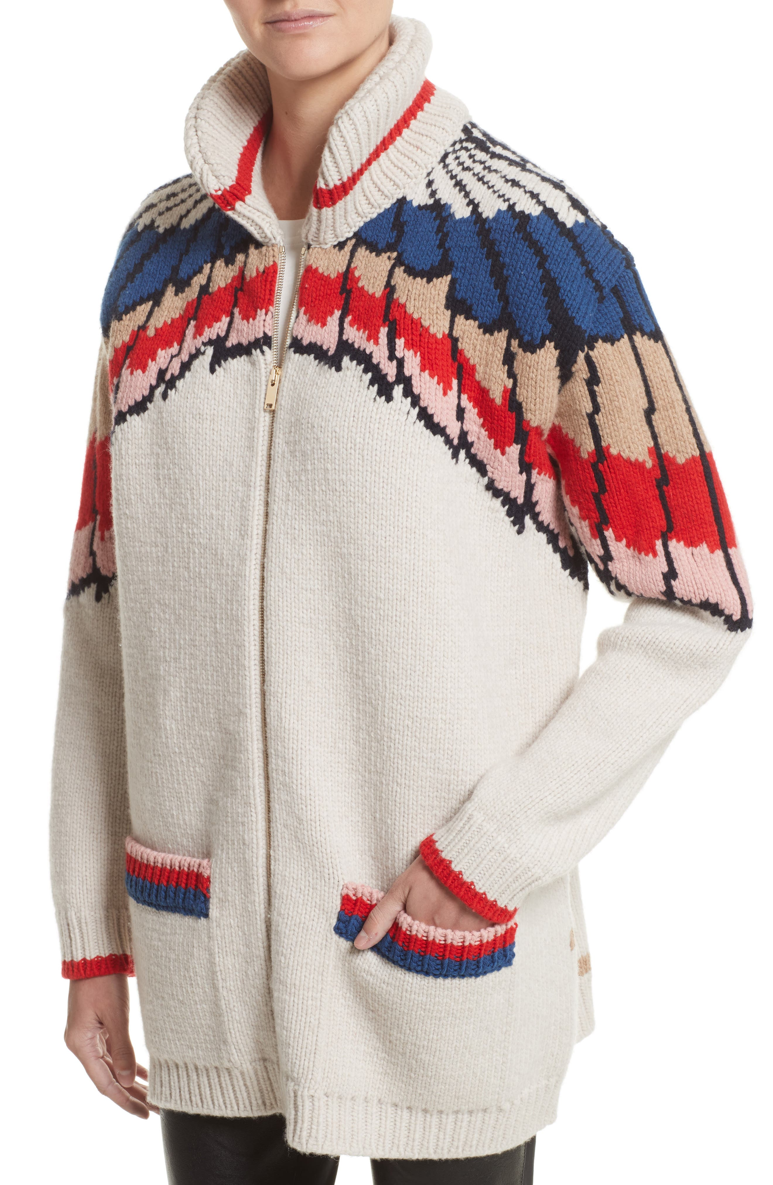Feather Print Wool Cardigan,                             Alternate thumbnail 4, color,                             Multicolor