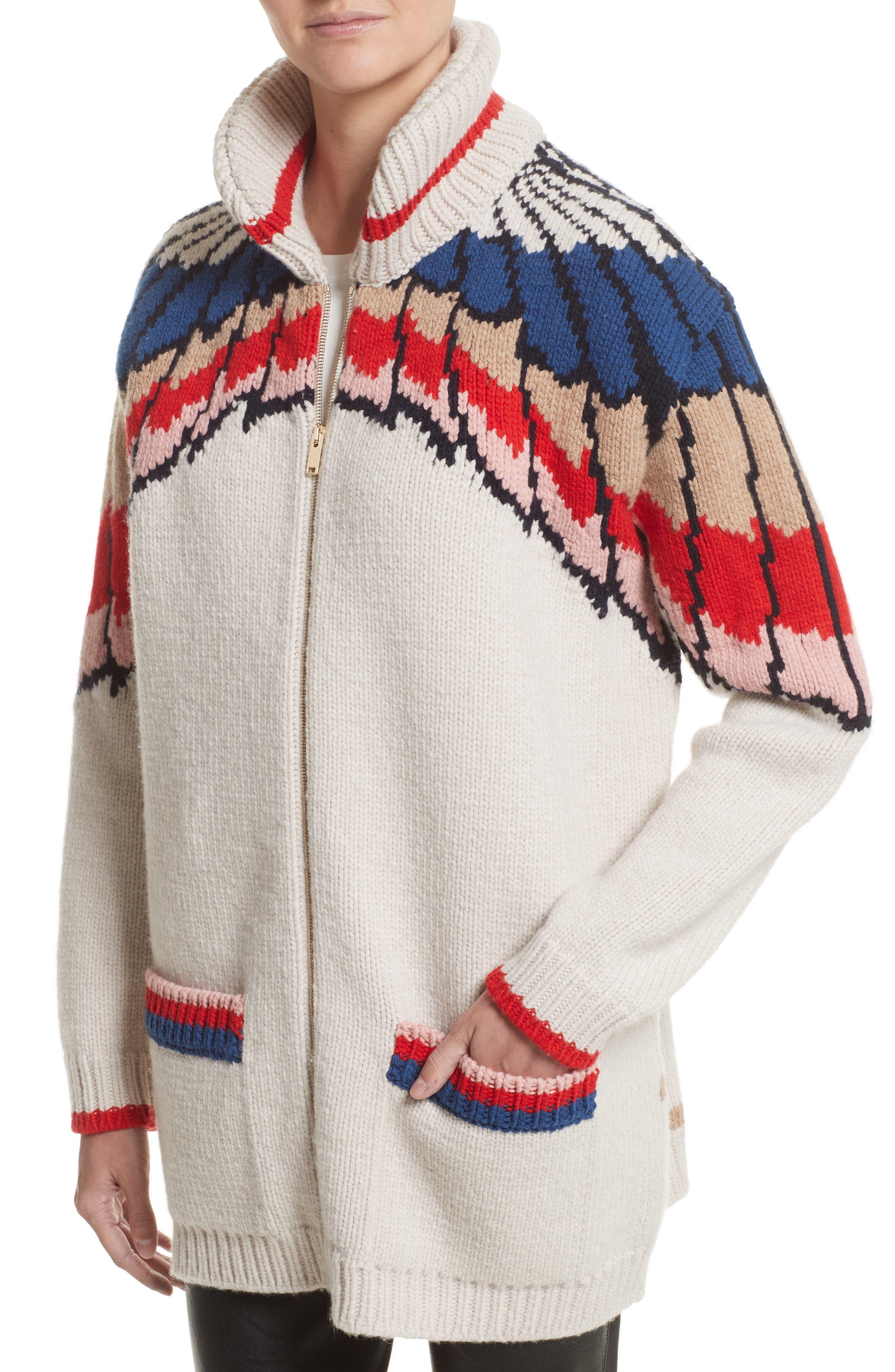 Alternate Image 4  - Stella McCartney Feather Print Wool Cardigan