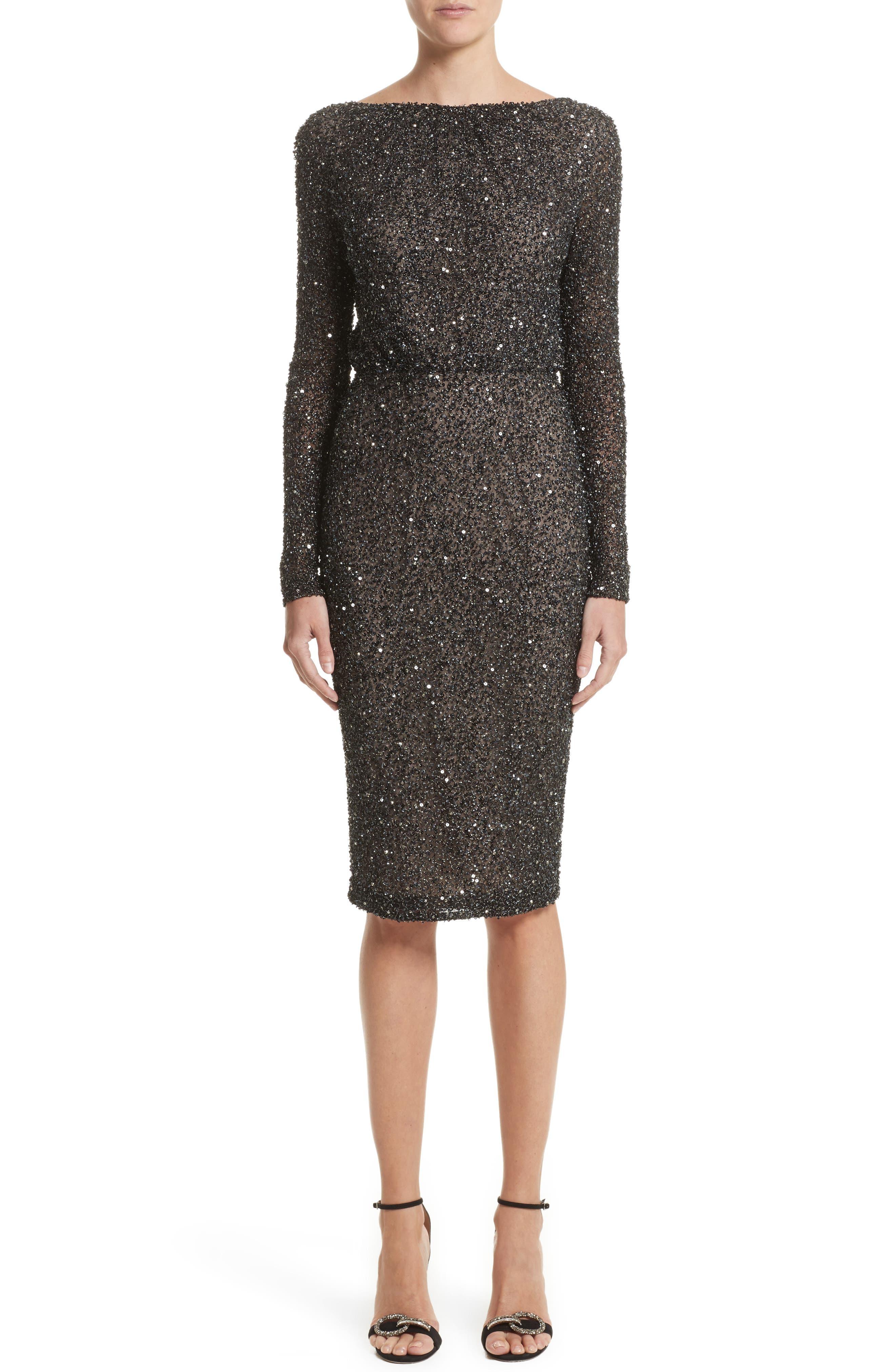 Rachel Gilbert Viera Embellished V-Back Sheath Dress