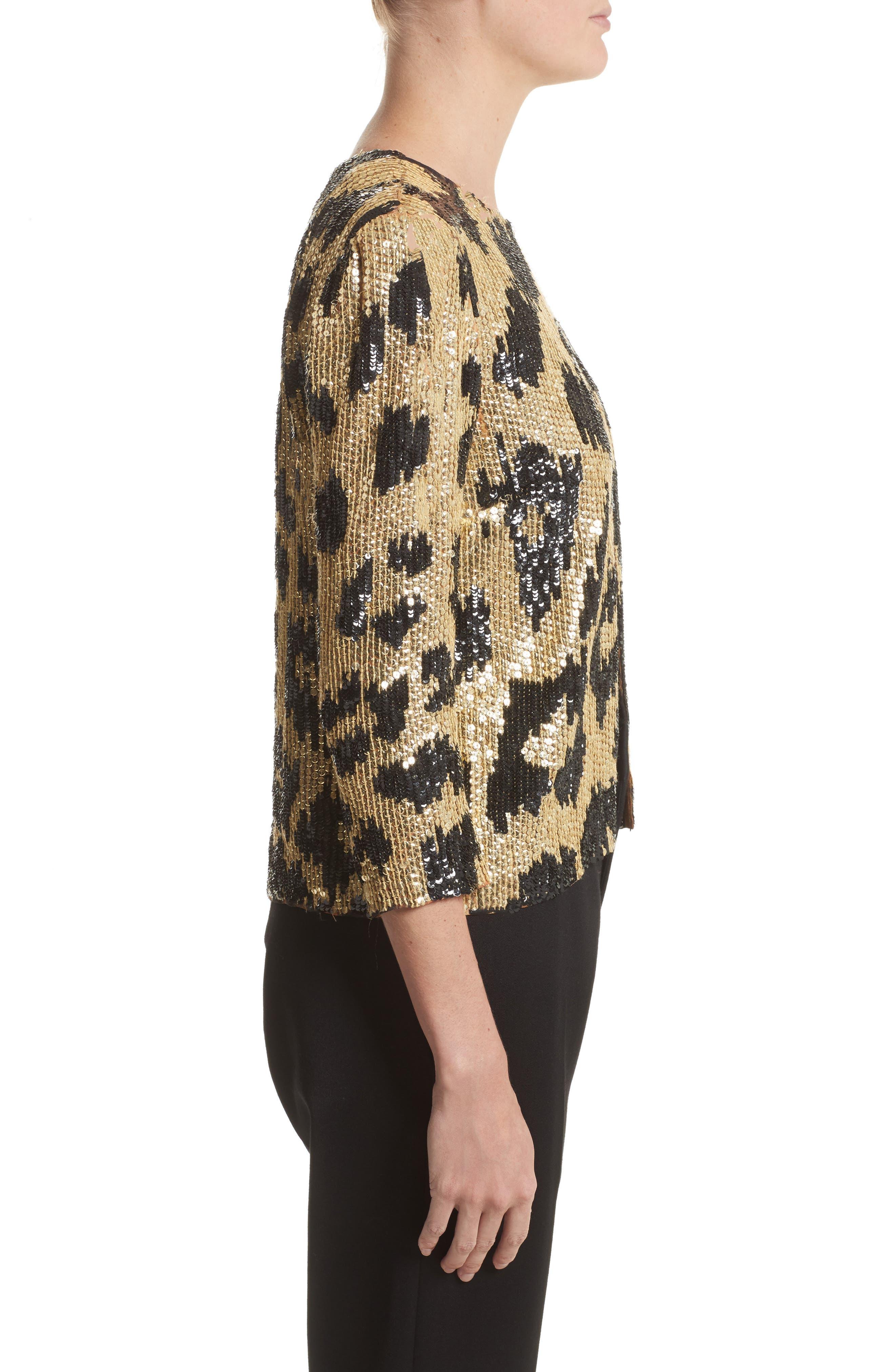 Cheetah Print Sequin Jacket,                             Alternate thumbnail 3, color,                             Black/ Gold