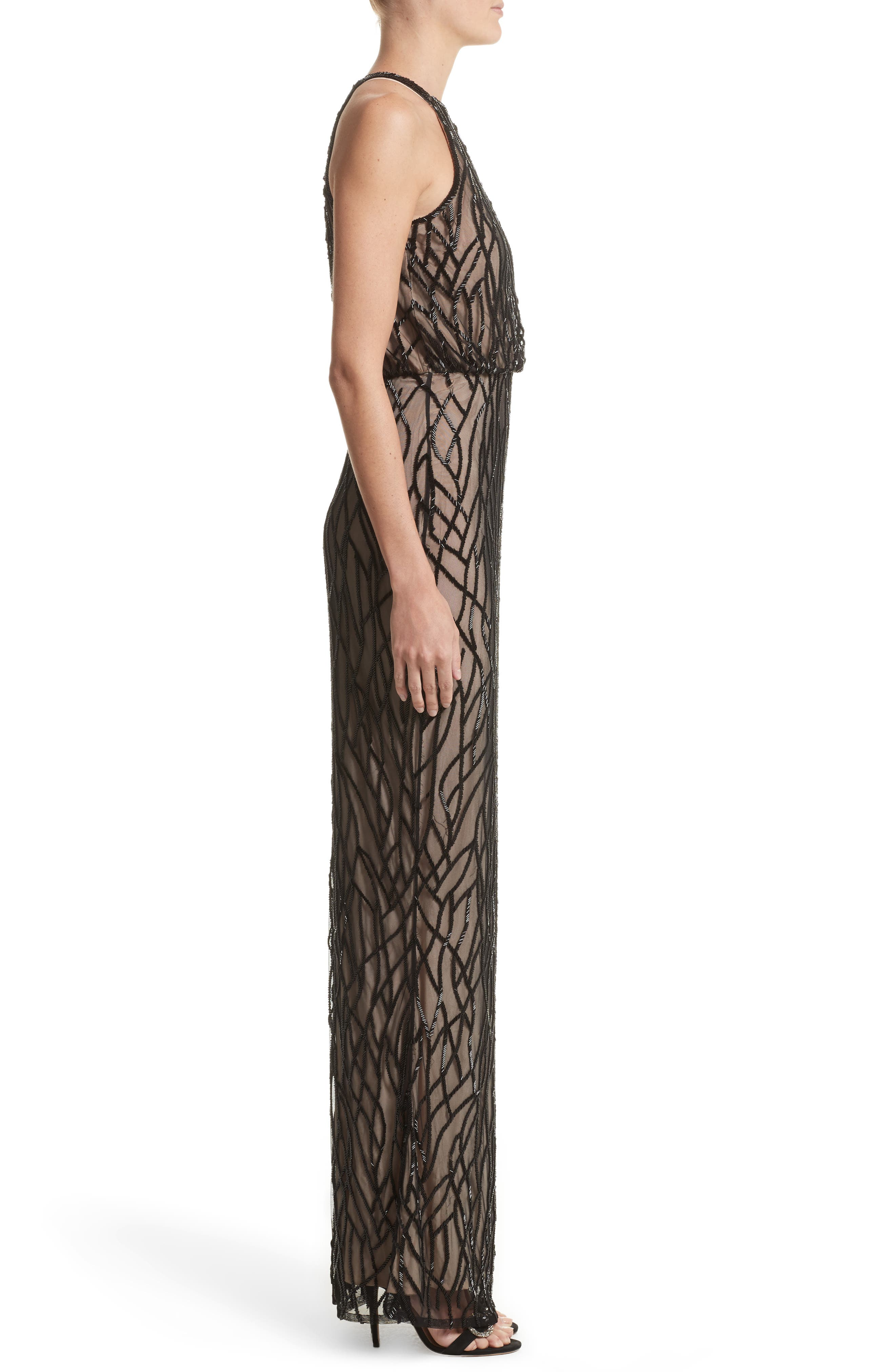 Toriana Beaded Mesh Gown,                             Alternate thumbnail 4, color,                             Black