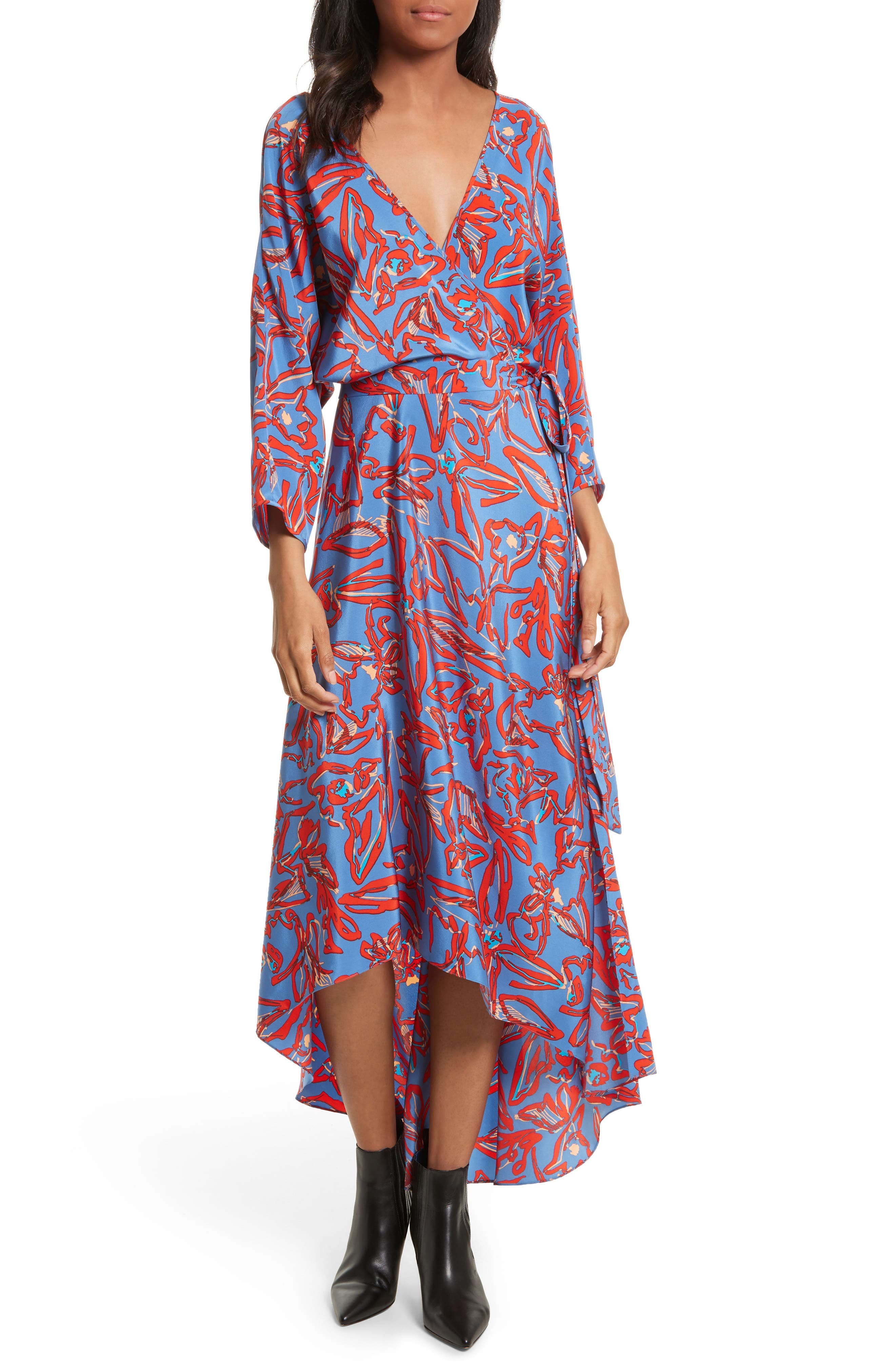 Diane von Furstenberg Print Silk Asymmetrical Maxi Dress