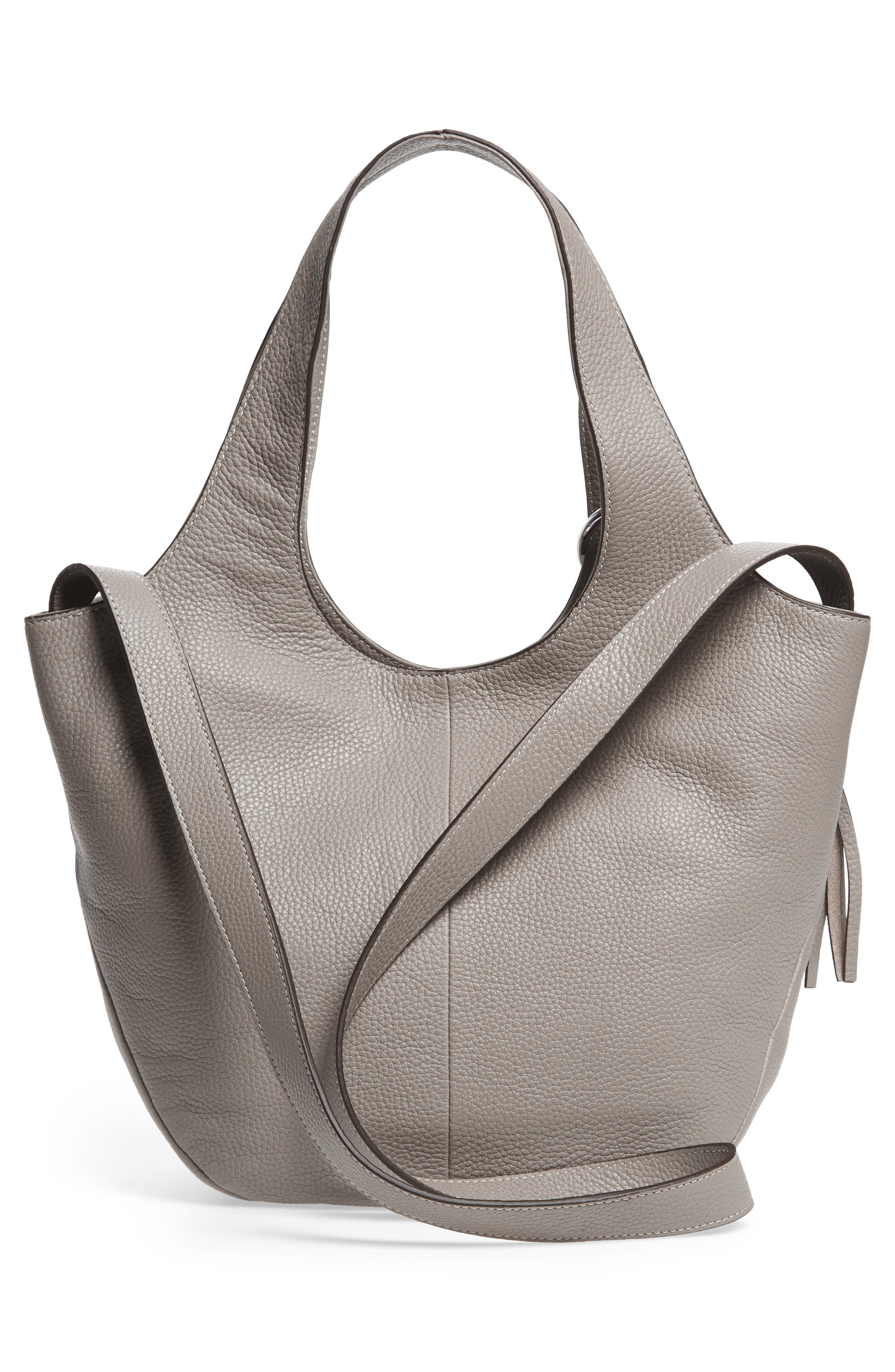 Small Finley Leather Shopper,                             Alternate thumbnail 2, color,                             Dove Grey