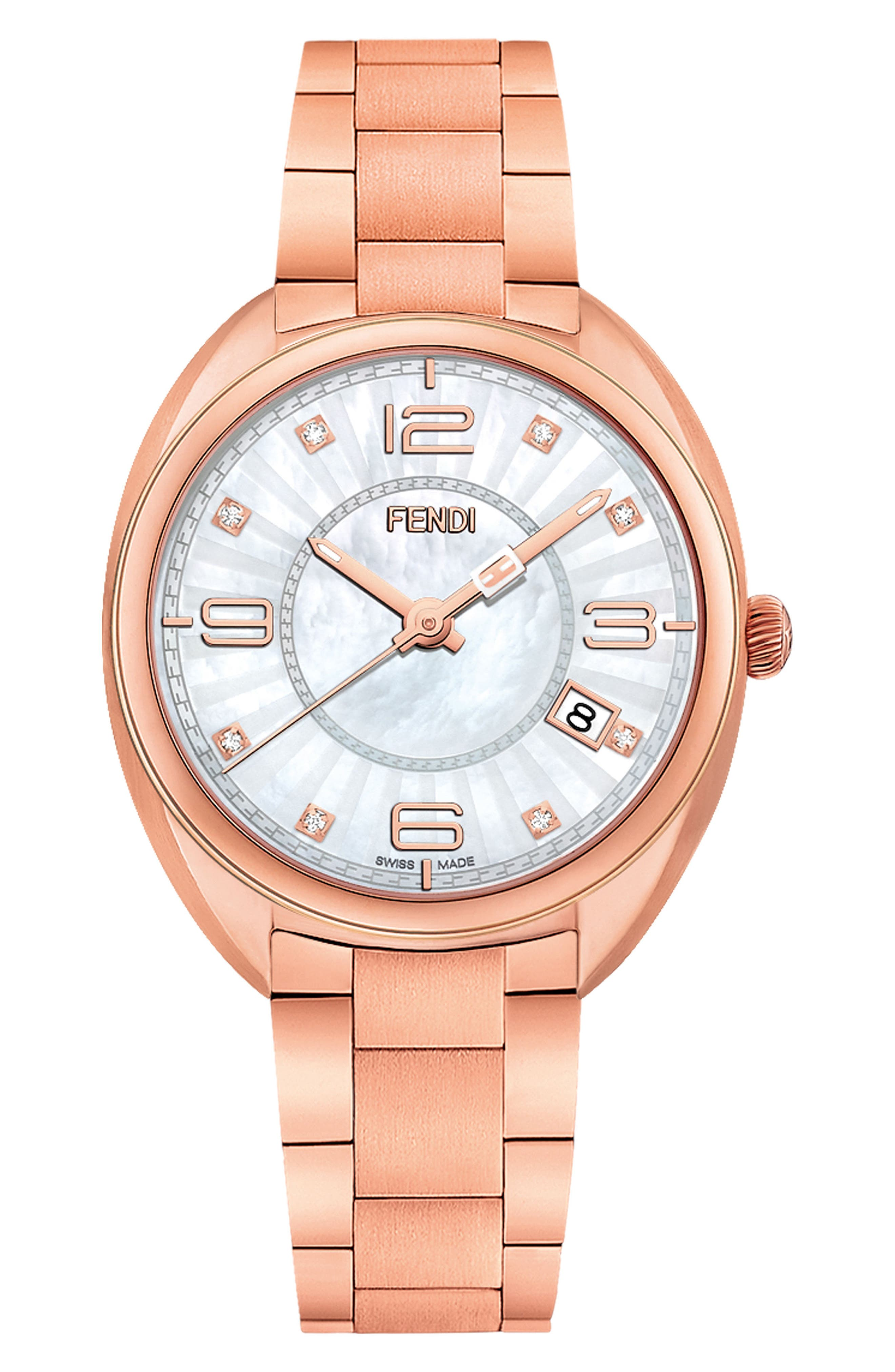 Momento Diamond Bracelet Watch, 34mm,                             Main thumbnail 1, color,                             Rose Gold/ Mop/ Rose Gold
