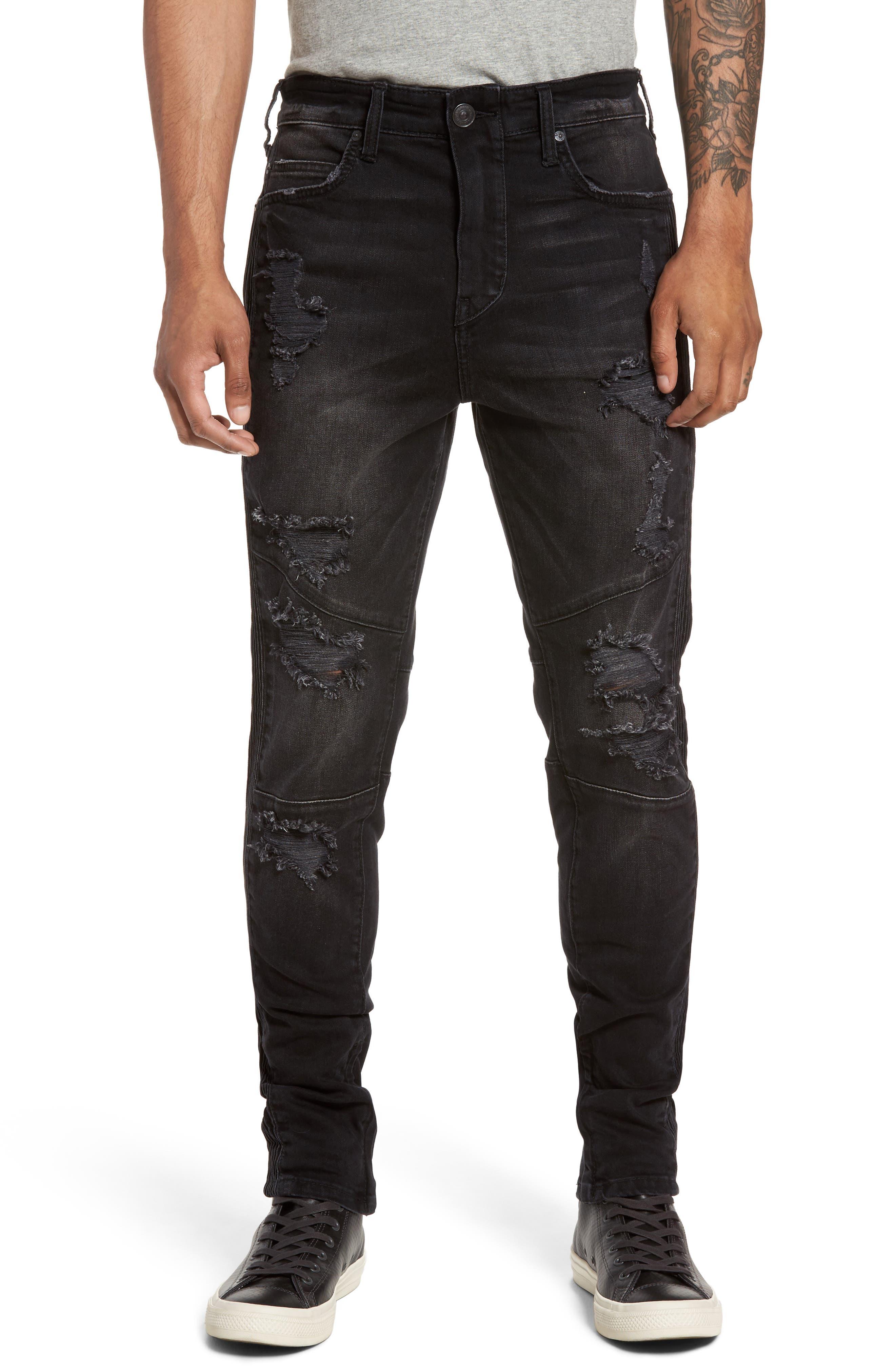 True Religion Brand Jeans Racer Skinny Fit Moto Jeans (Worn Nights)