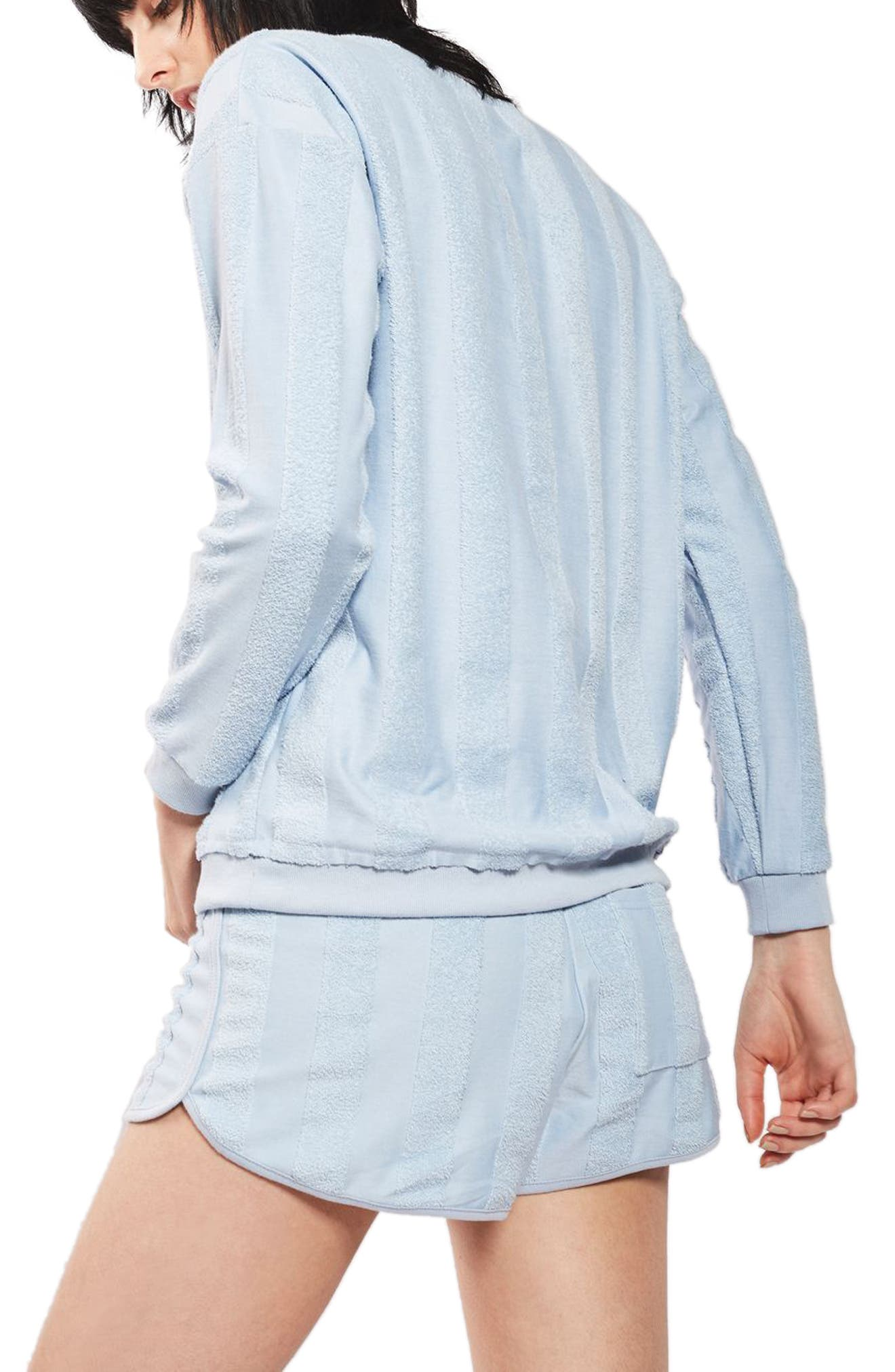 Alternate Image 2  - Topshop Towel Stripe Lounge Sweatshirt