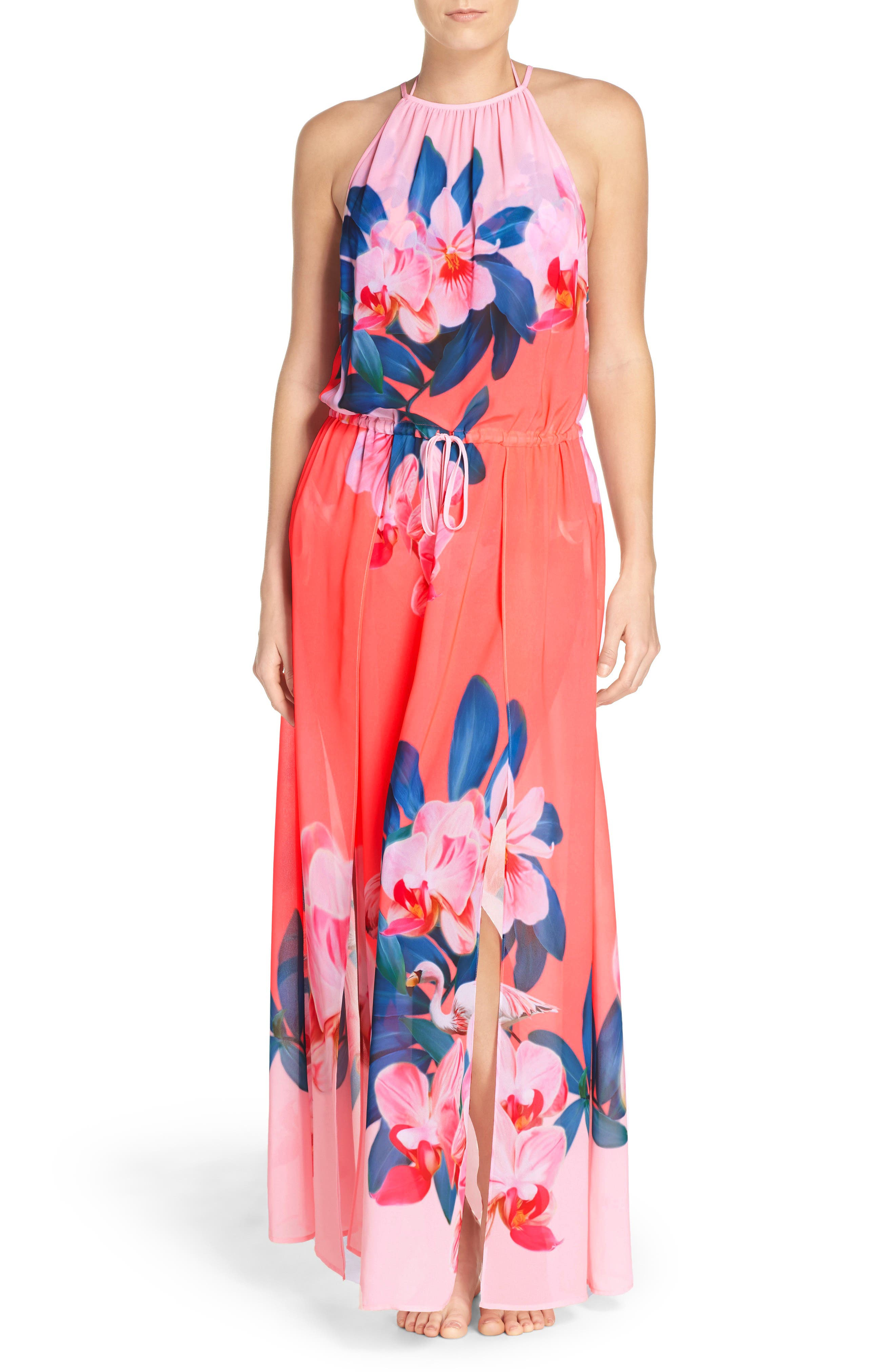 Main Image - Ted Baker London Orchid Wonderland Cover-Up Maxi Dress
