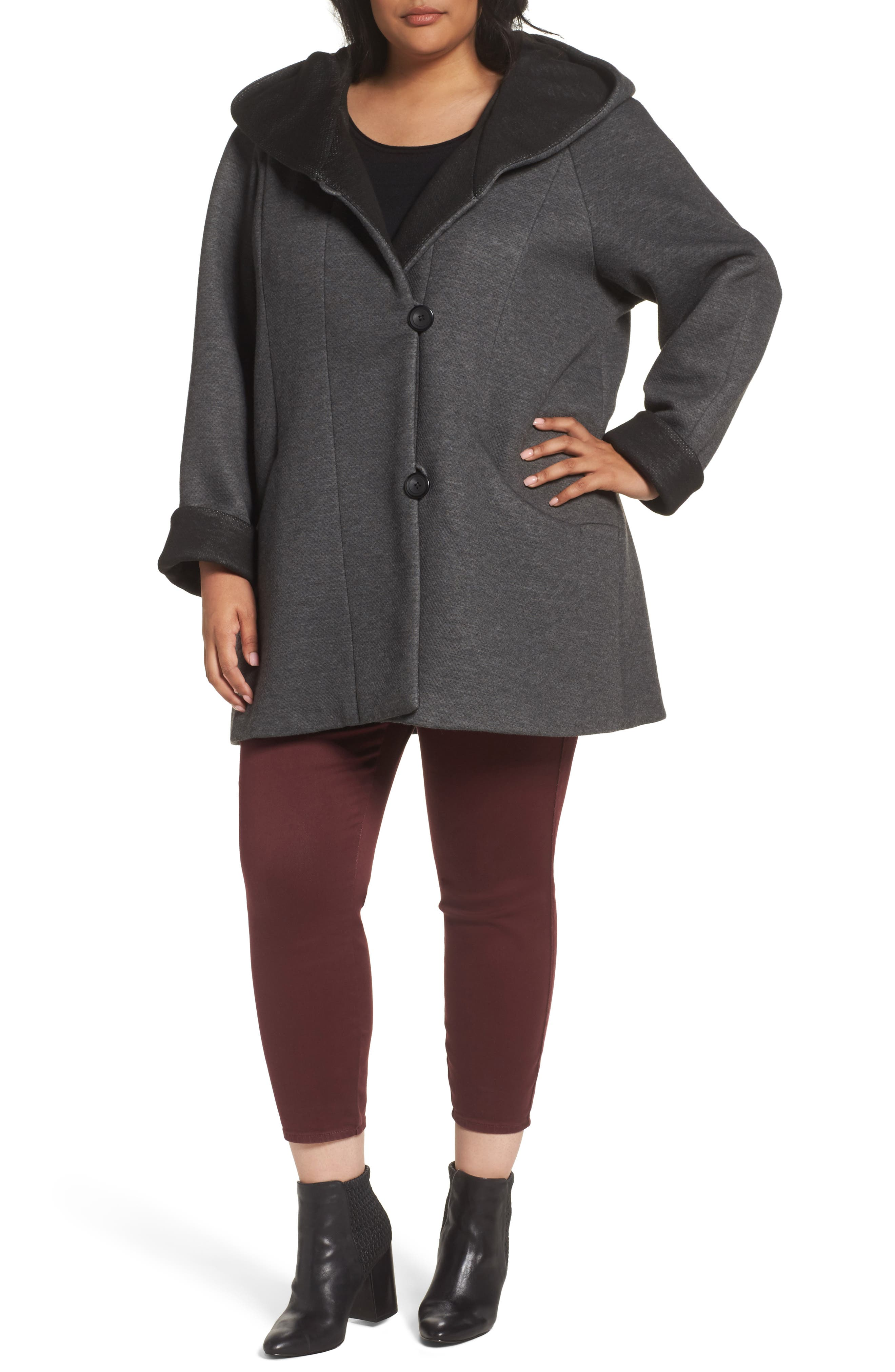 Hooded Double Face Knit Coat,                         Main,                         color, Dark Heather Grey/ Black