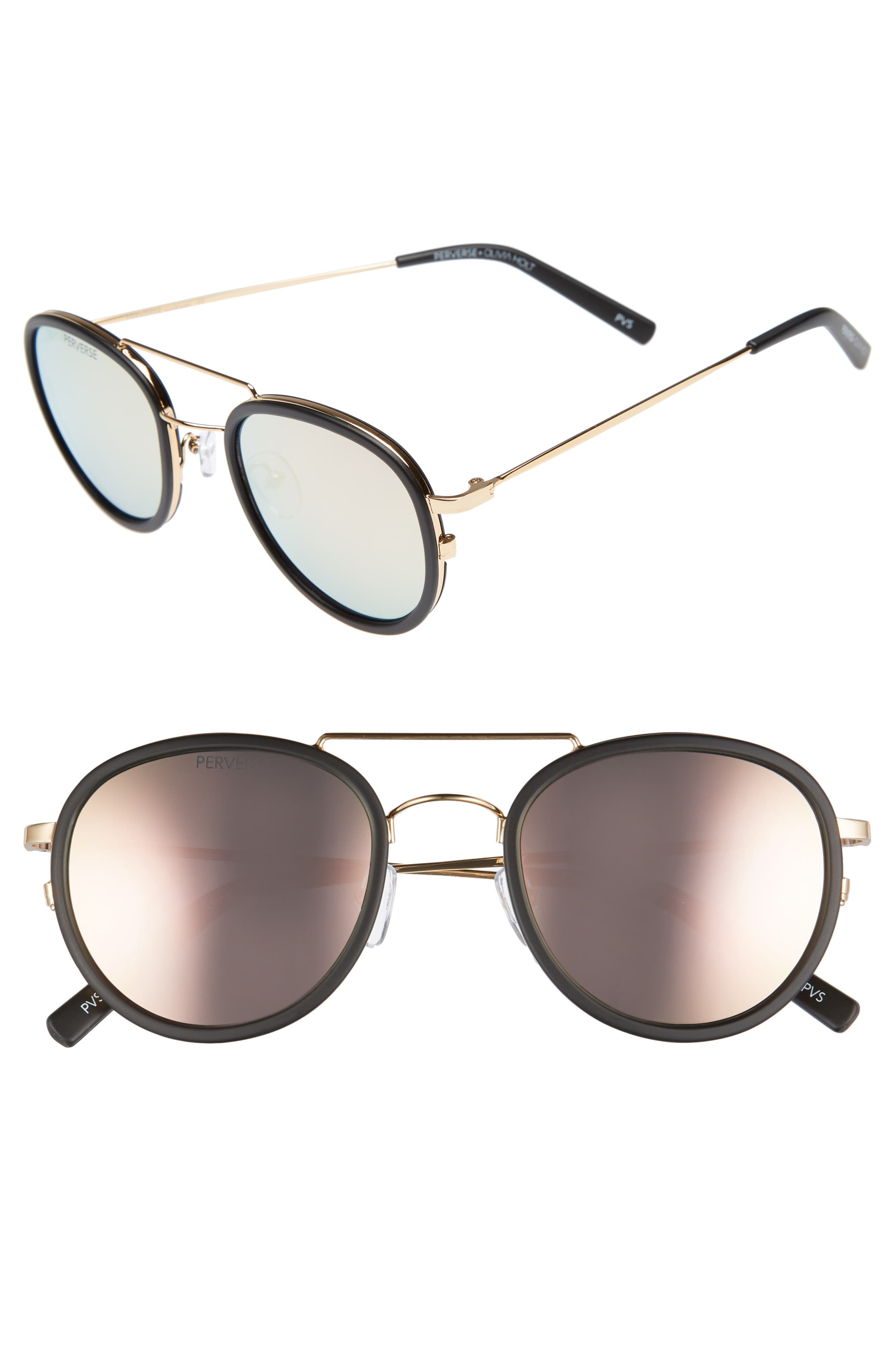 PERVERSE The Kimberly 55mm Mirrored Lens Aviator Sunglasses