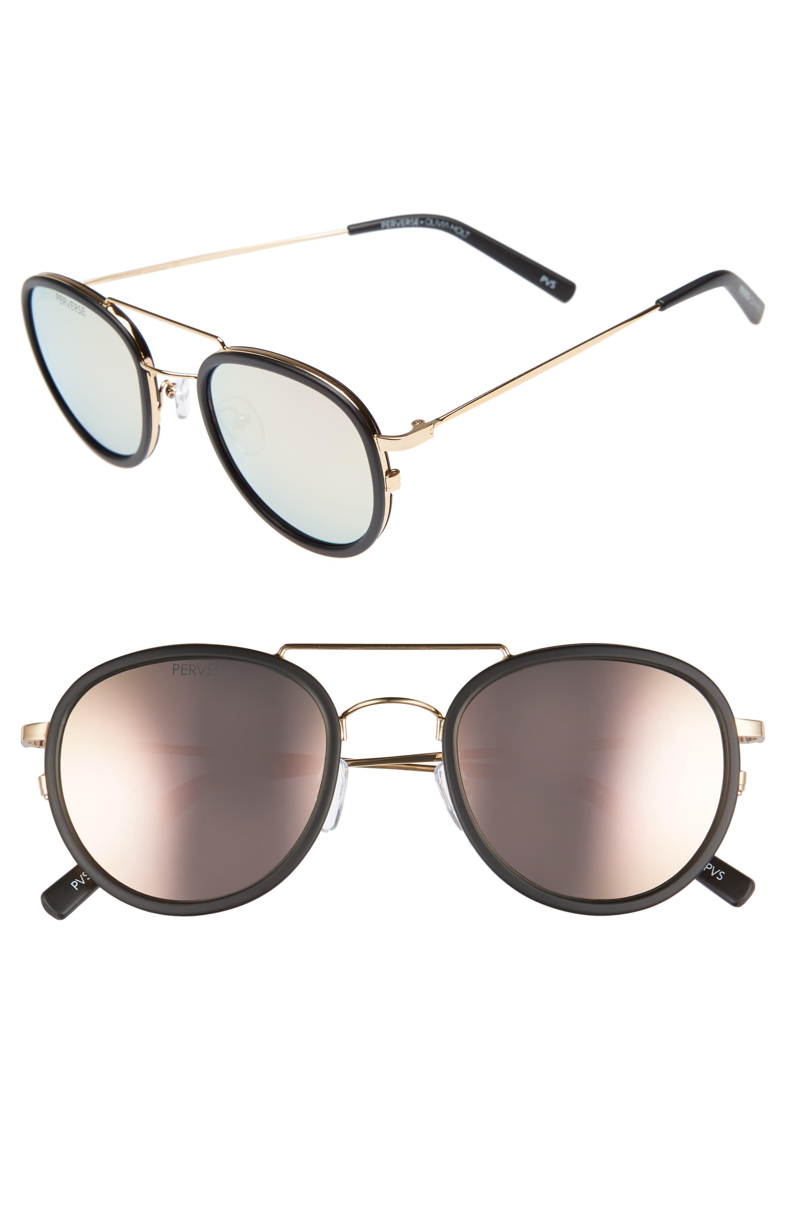 PERVERSE The Kimberly 55mm Mirrored Lens Aviator Sunglasses