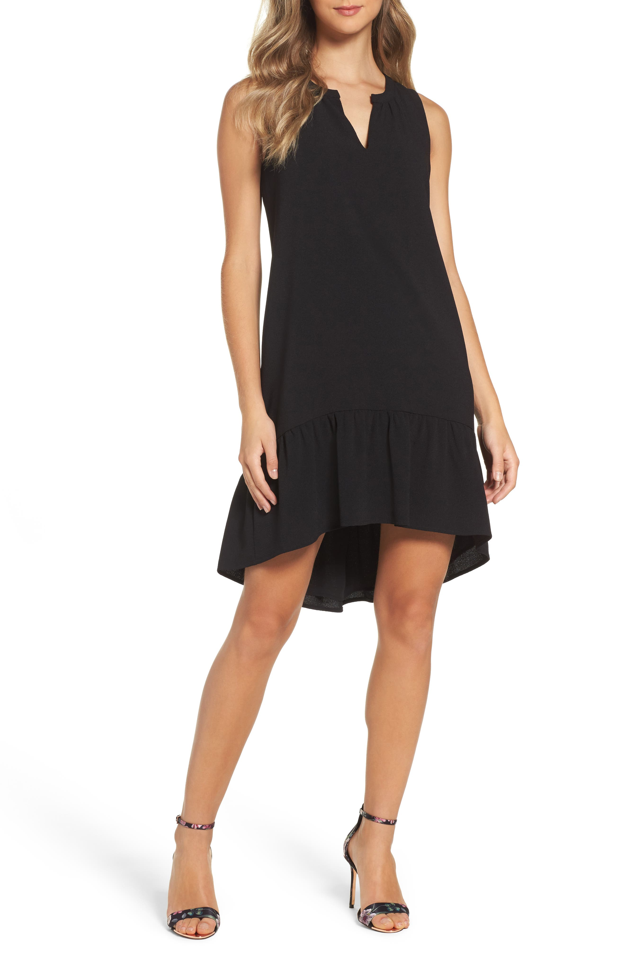 Alternate Image 1 Selected - Charles Henry High/Low Ruffle Shift Dress (Regular & Petite)
