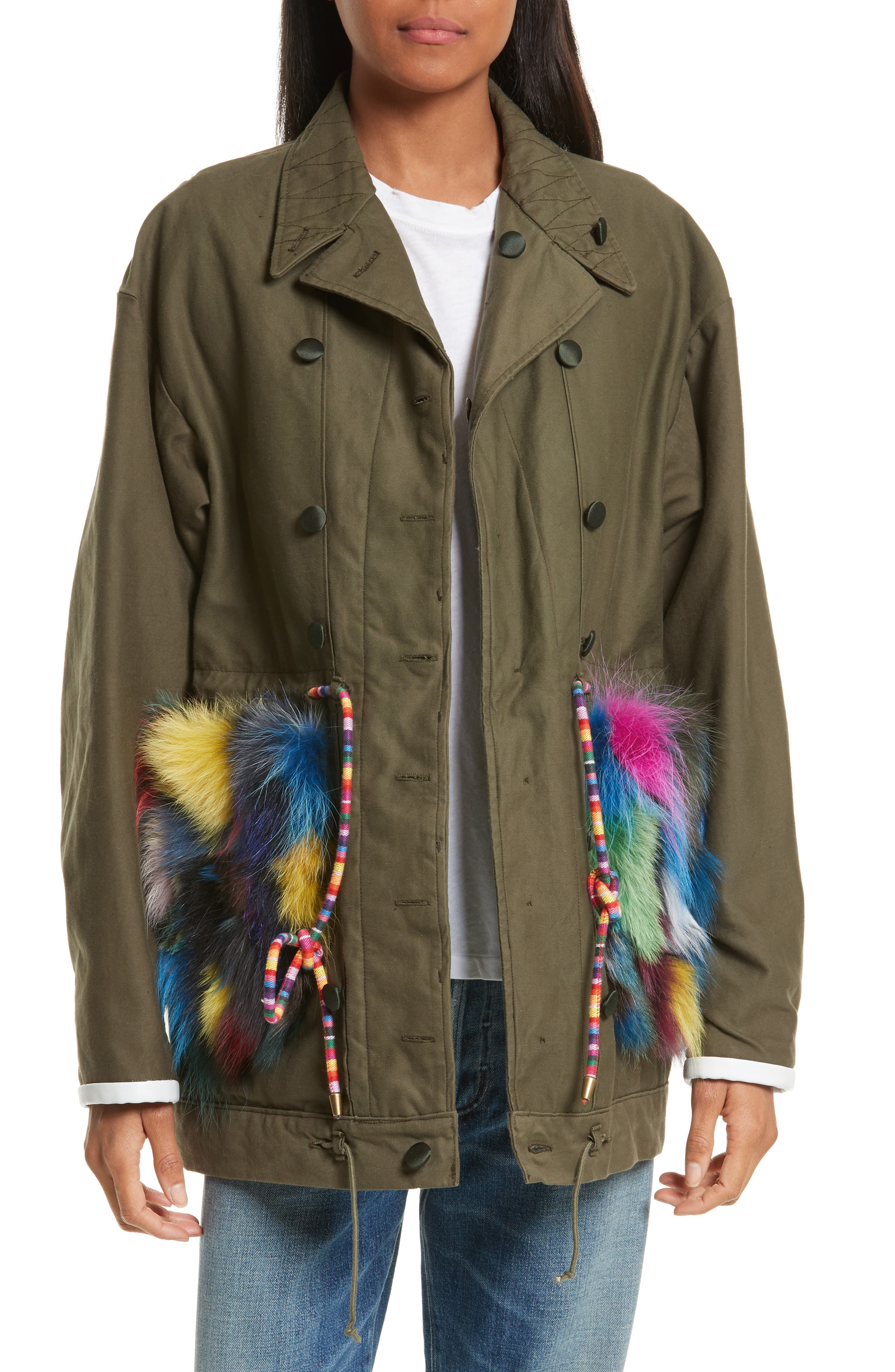 Reversible Vintage Army Coat with Genuine Fox Fur Trim,                         Main,                         color, Olive