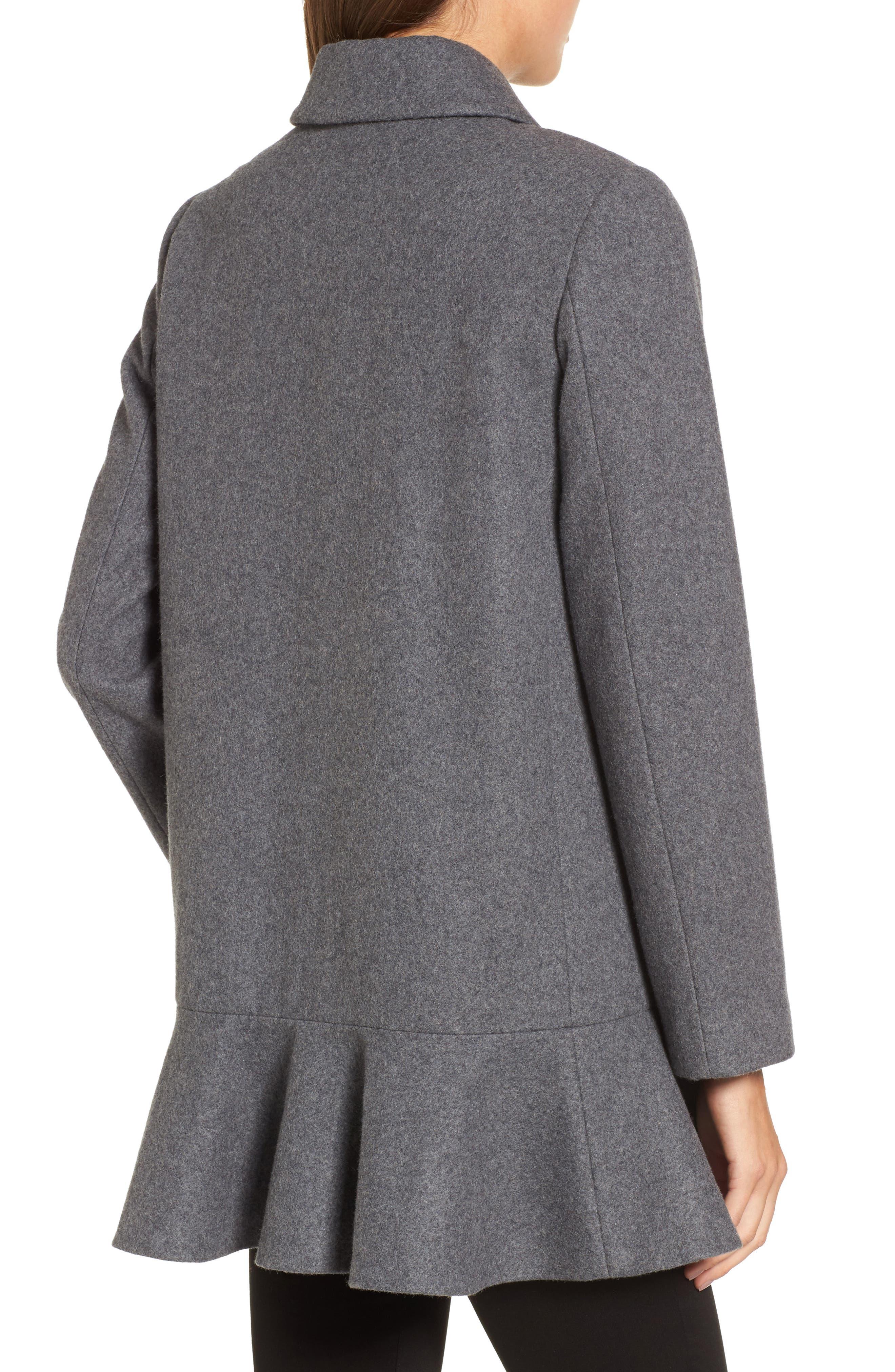 drop waist wool blend flounce coat,                             Alternate thumbnail 2, color,                             Soft Grey/ Light Grey