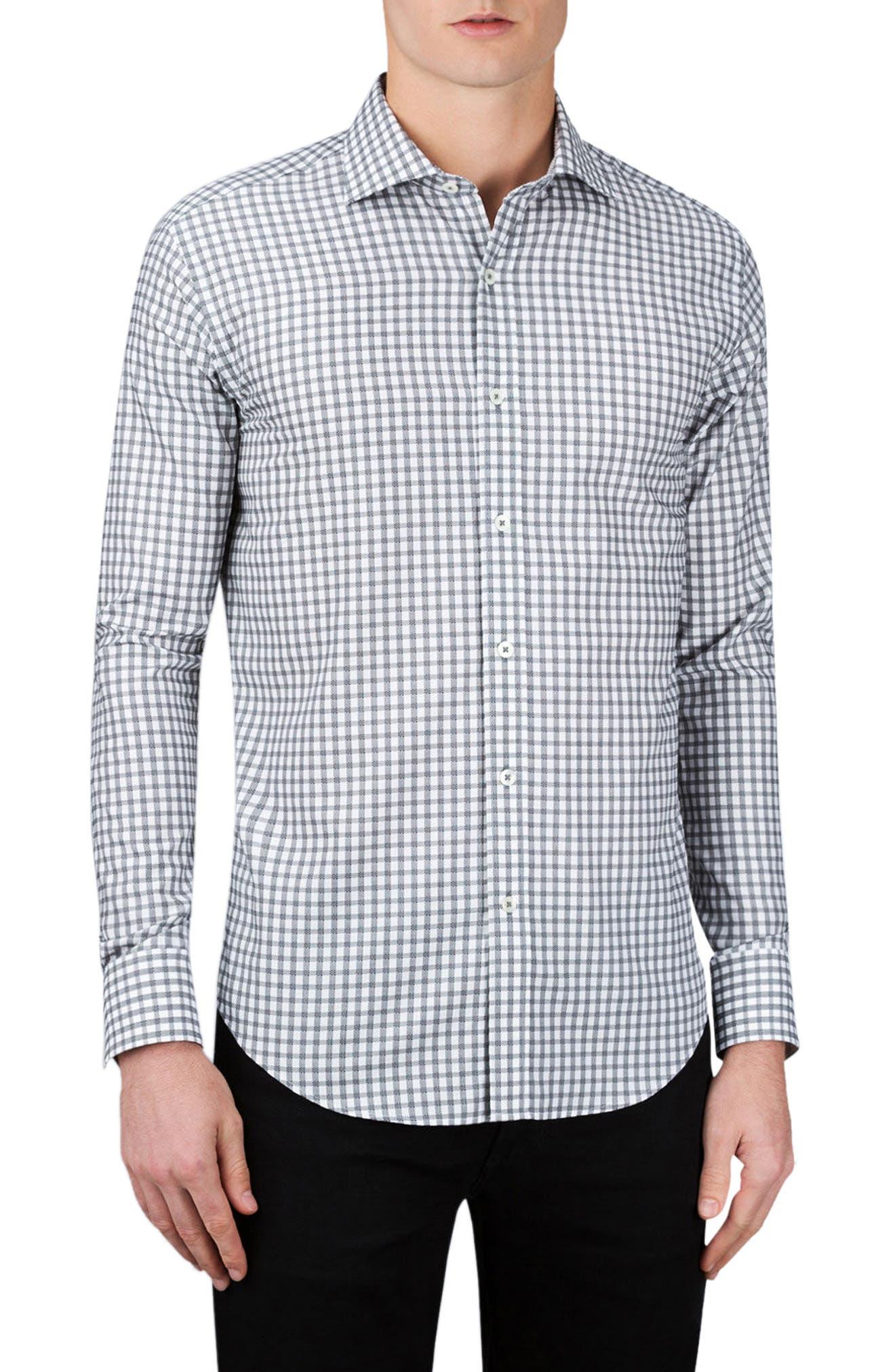 Shaped Fit Check Sport Shirt,                         Main,                         color, Graphite