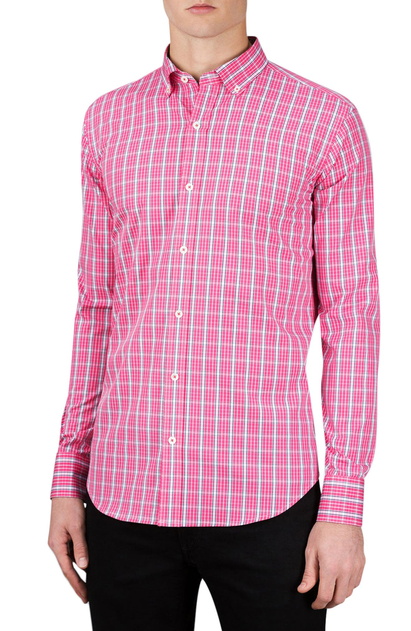 Classic Fit Grid Print Sport Shirt,                         Main,                         color, Pink