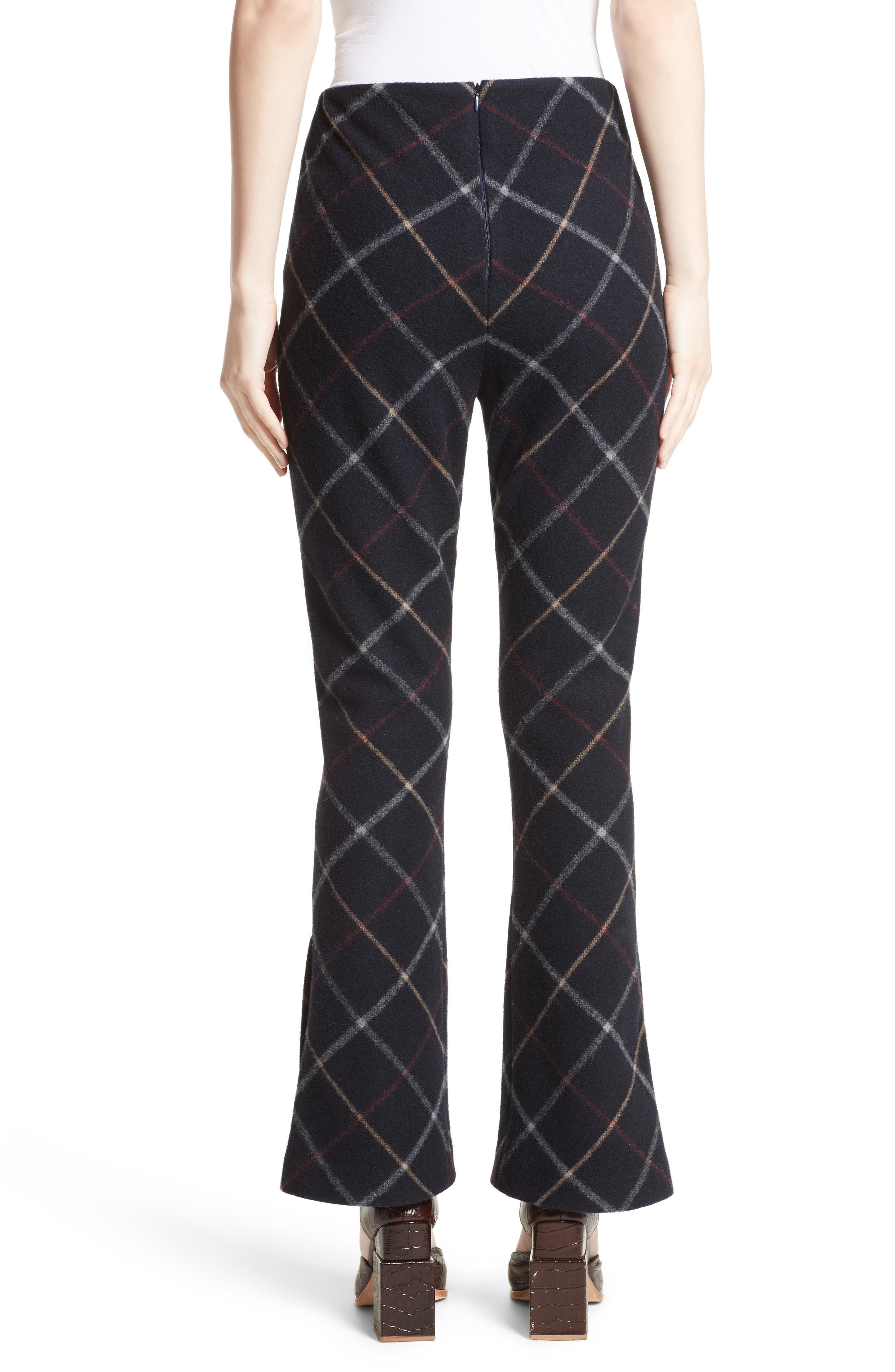 Fitted Crop Flare Pants,                             Alternate thumbnail 2, color,                             Navy