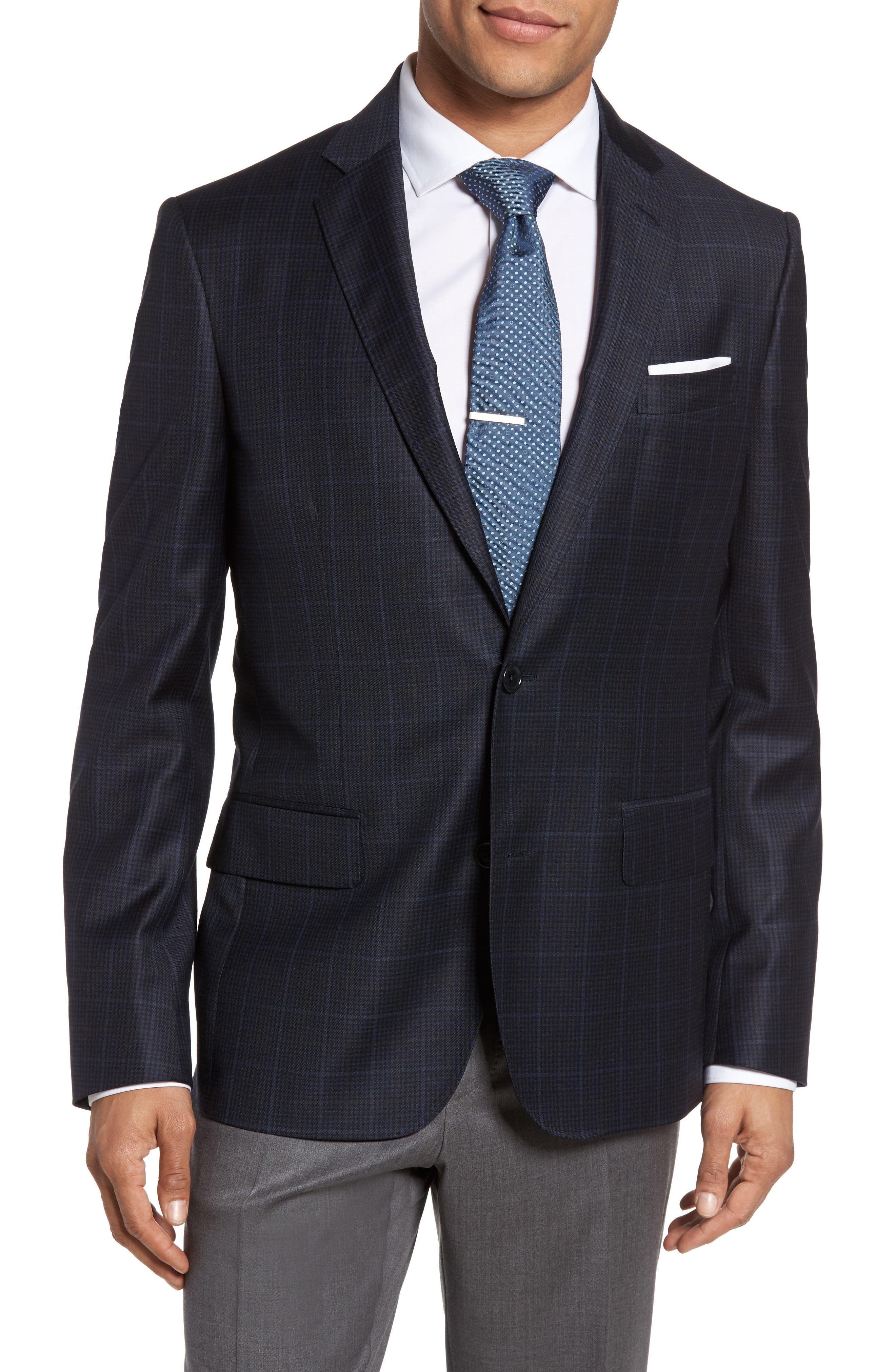 Alternate Image 1 Selected - Nordstrom Men's Shop Classic Fit Plaid Wool Sport Coat