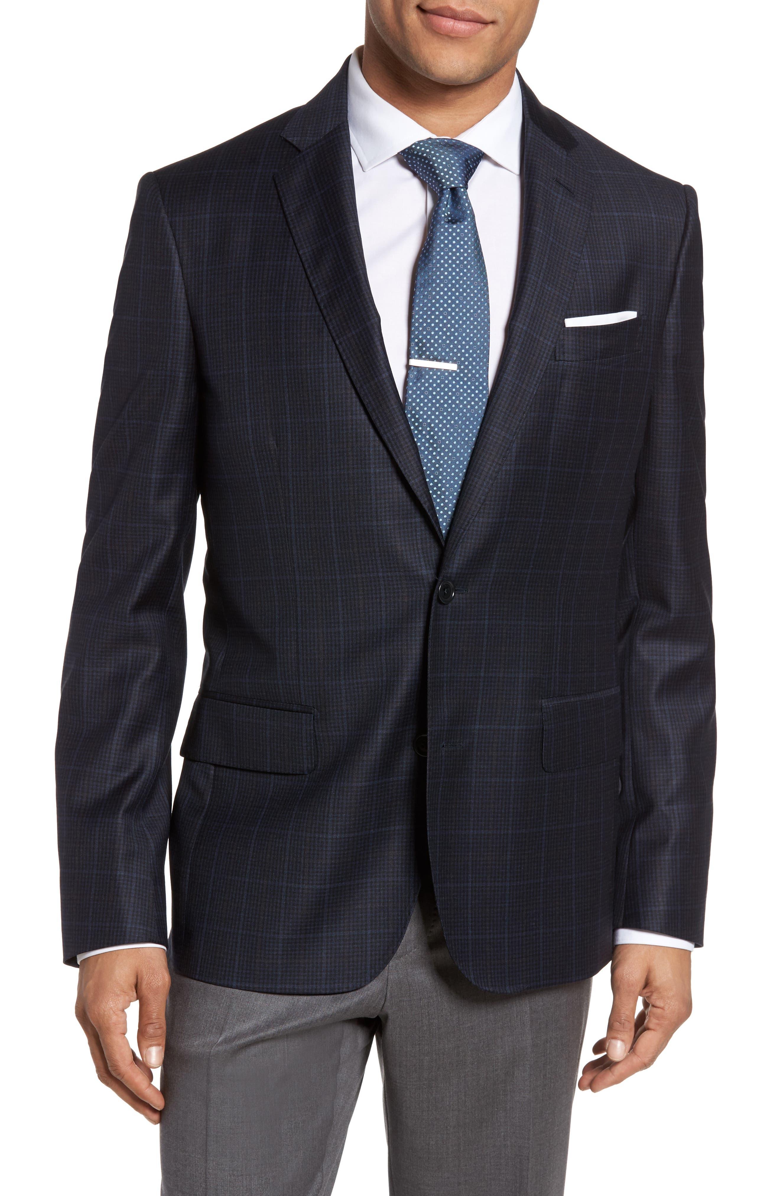 Main Image - Nordstrom Men's Shop Classic Fit Plaid Wool Sport Coat