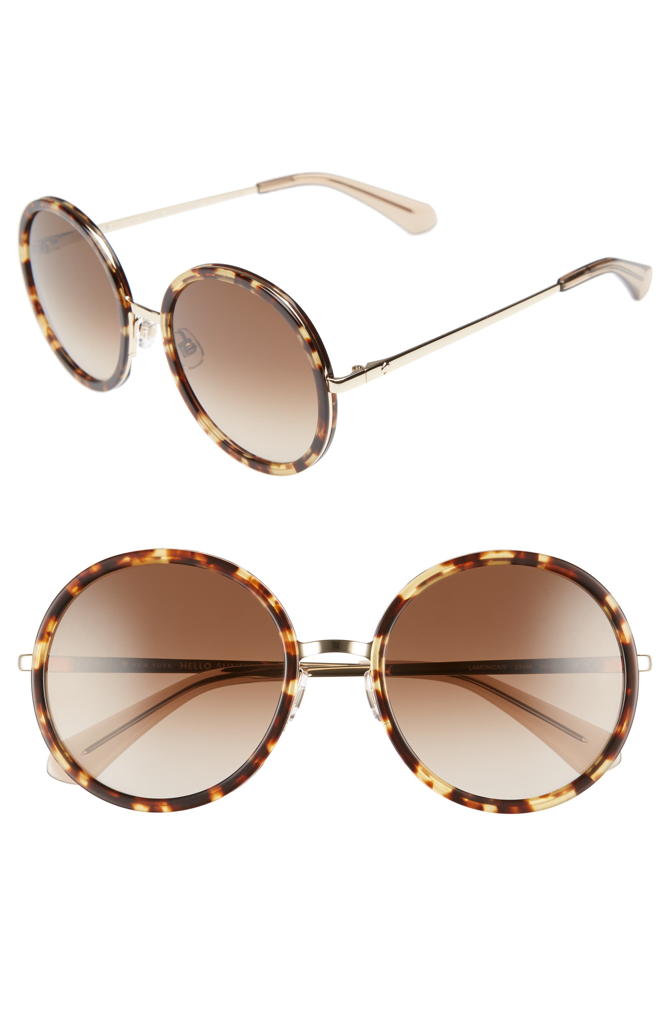 lamonica 54mm gradient lens round sunglasses,                         Main,                         color, Havana/ Gold
