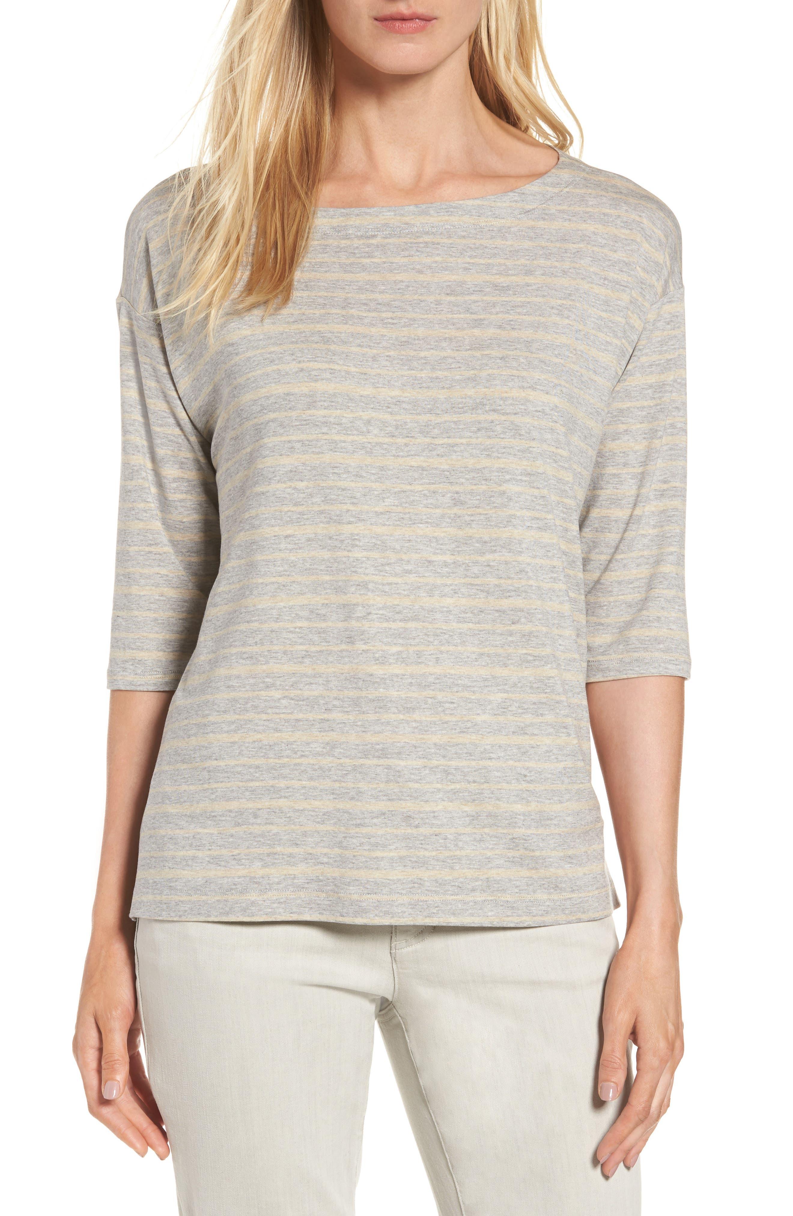 Stripe Knit Boxy Top,                         Main,                         color, Dark Pearl White
