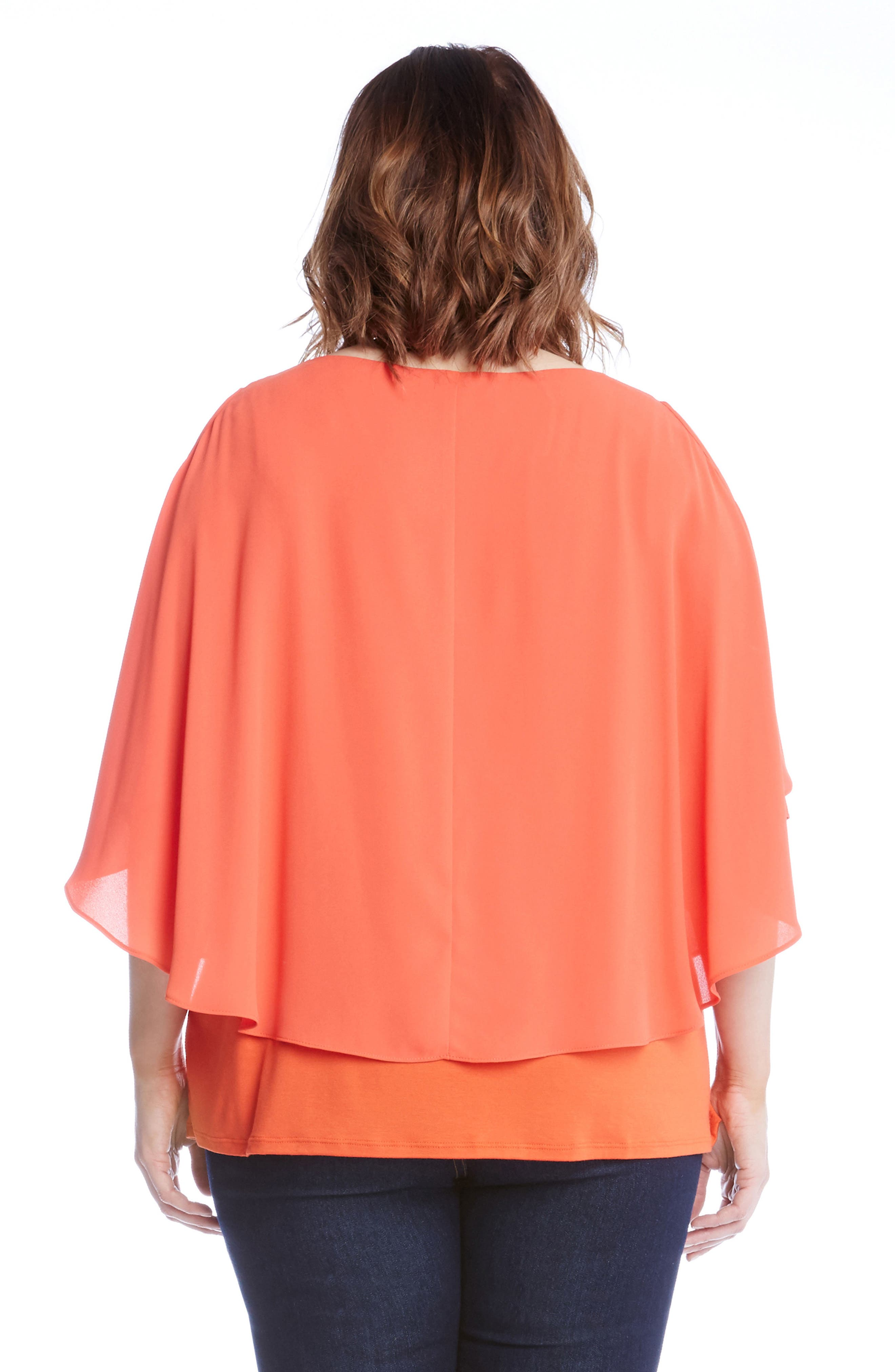 Alternate Image 2  - Karen Kane Layered Cold Shoulder Top (Plus Size)