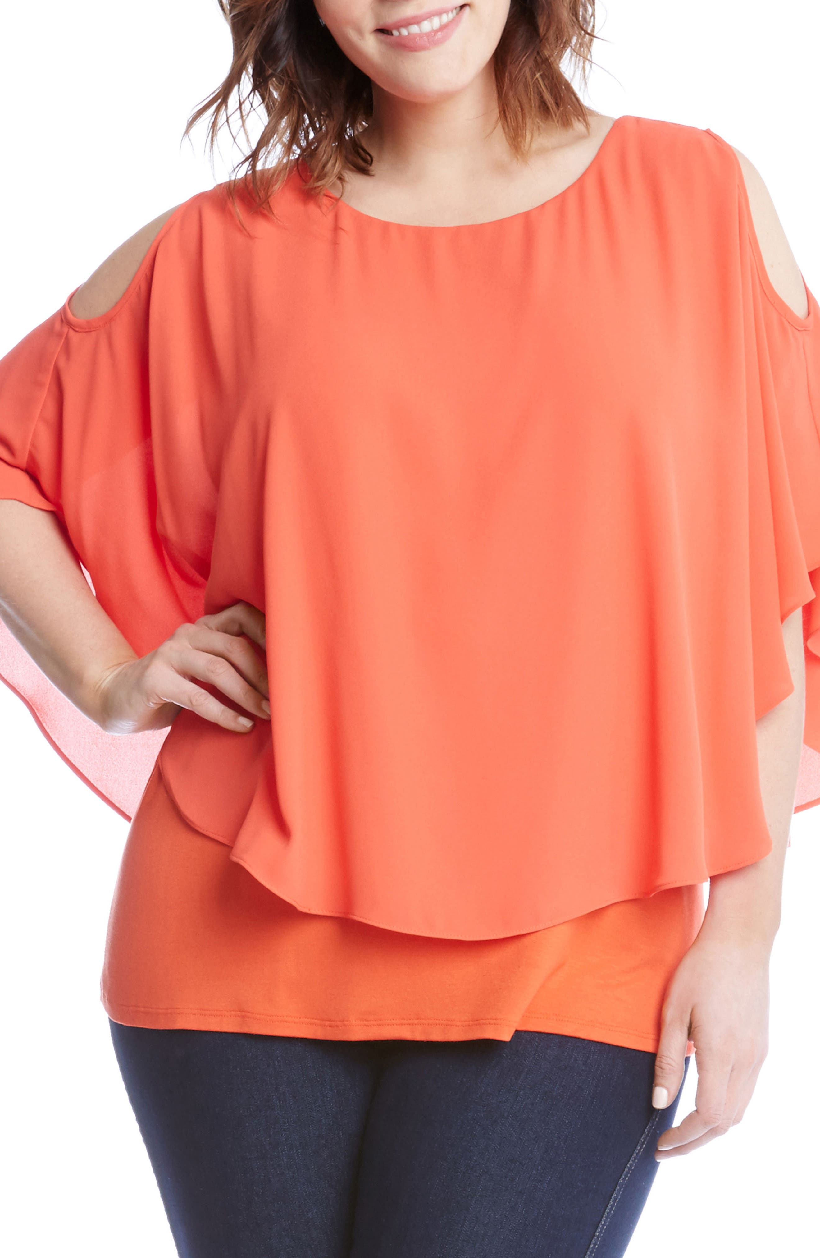 Main Image - Karen Kane Layered Cold Shoulder Top (Plus Size)