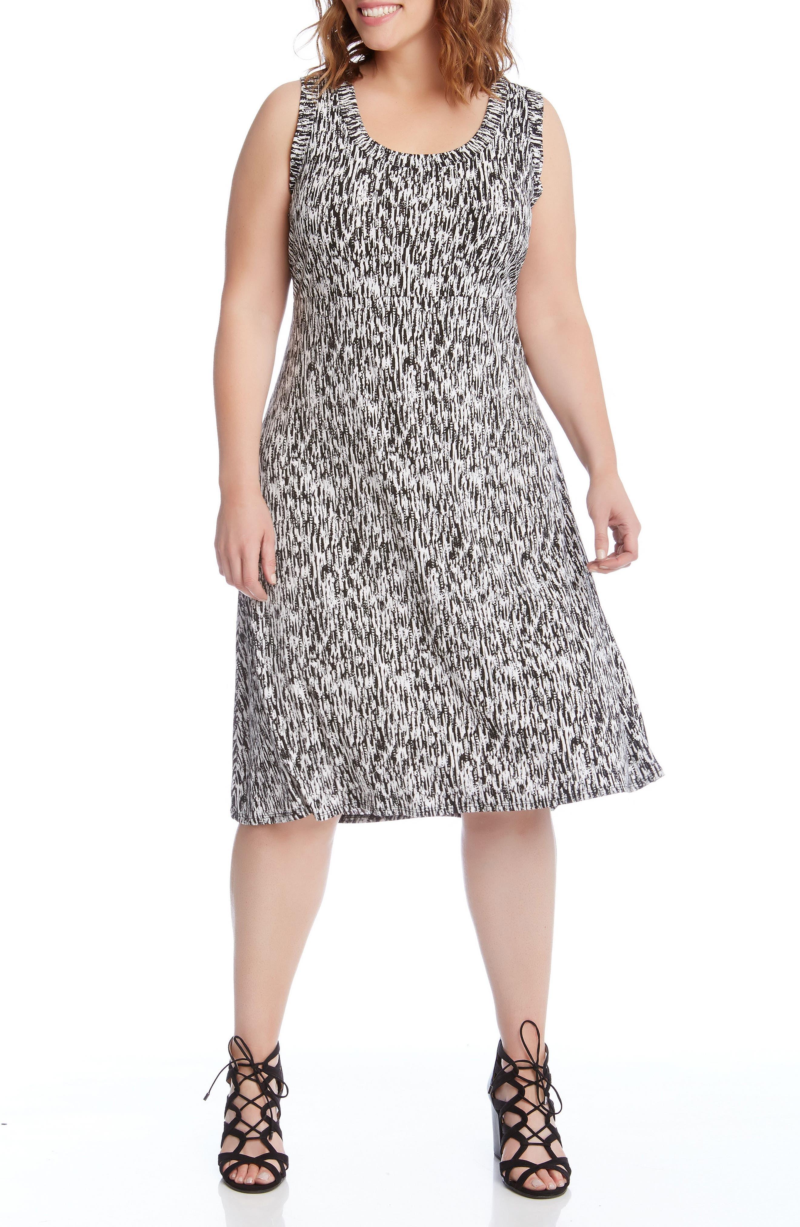 Alternate Image 3  - Karen Kane Print High/Low Hem Dress (Plus Size)