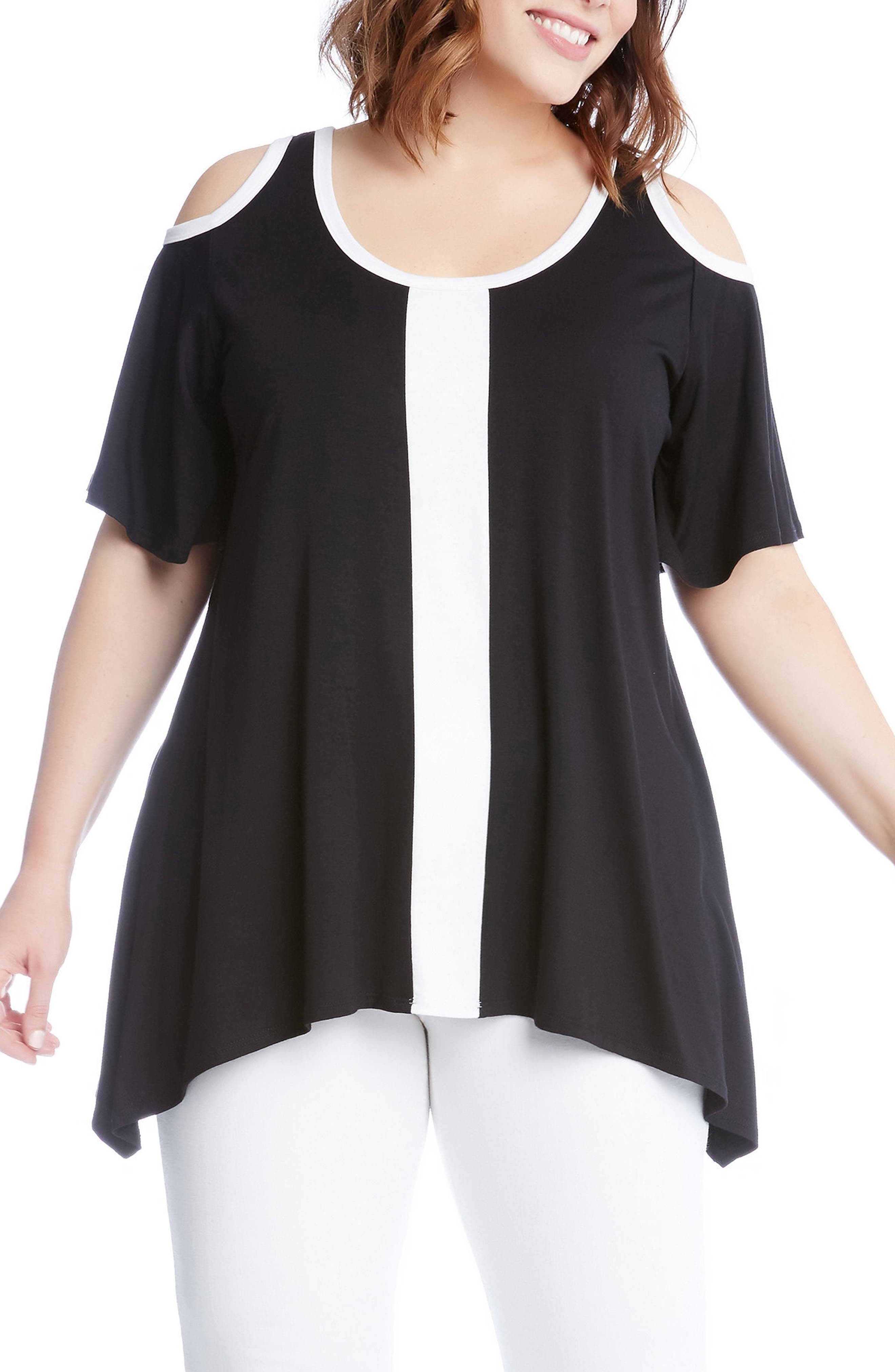 Alternate Image 3  - Karen Kane Colorblock Cold Shoulder Top (Plus Size)