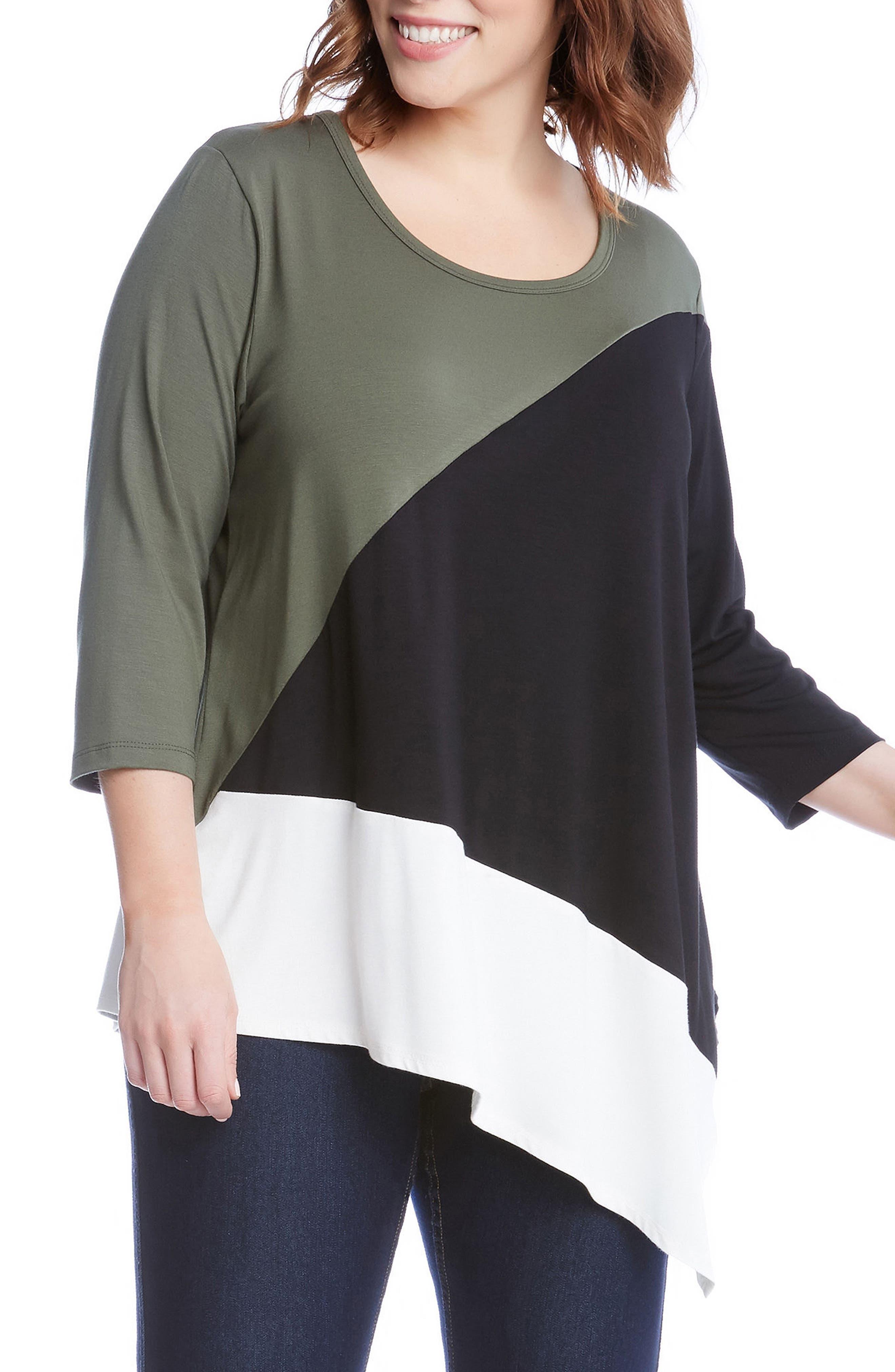 Karen Kane Asymmetrical Colorblock Top (Plus Size)