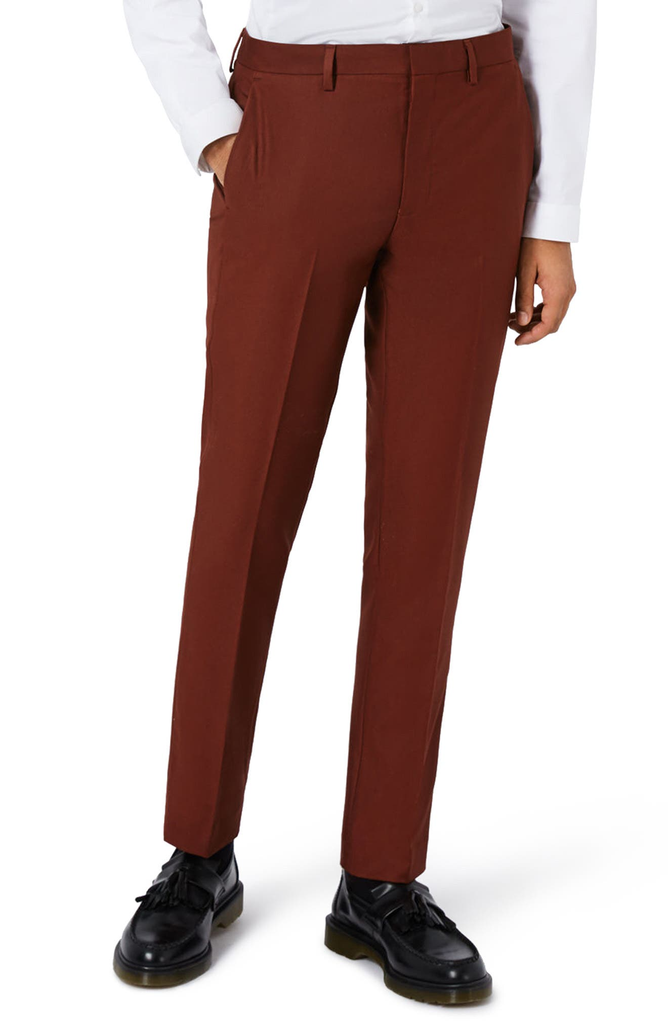 Skinny Fit Suit Trousers,                         Main,                         color, Burgundy