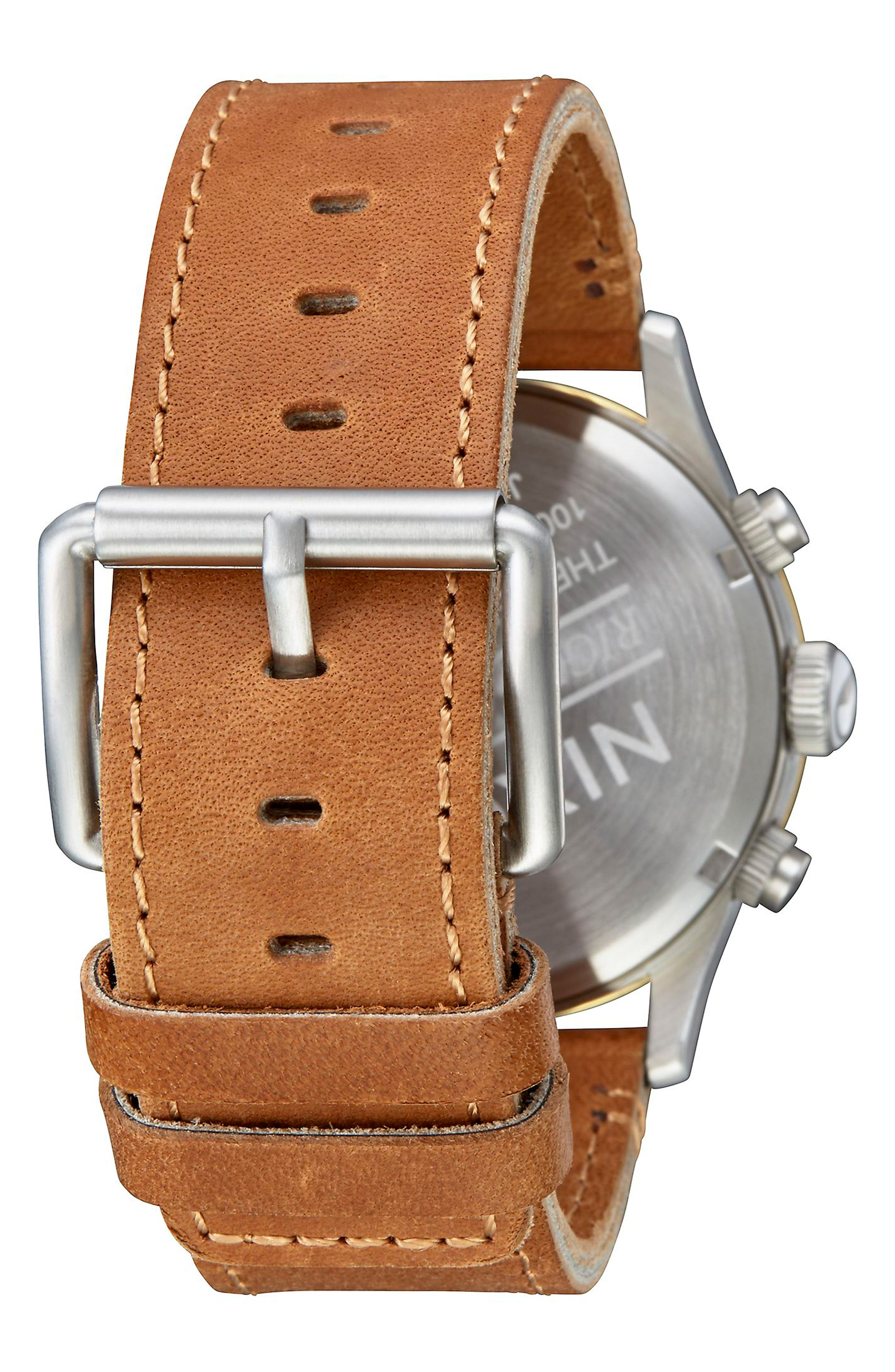 The Sentry Chronograph Leather Strap Watch, 42mm,                             Alternate thumbnail 2, color,                             Tan/ Cream/ Gold
