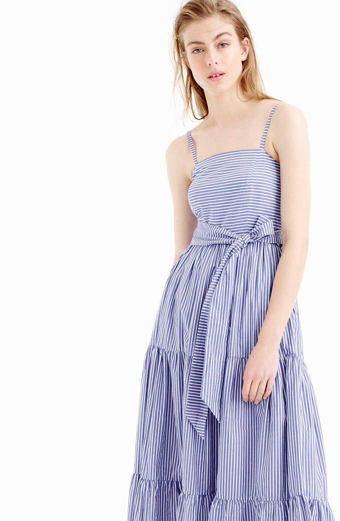 Alternate Image 2  - J.Crew Stripe Tiered Maxi Dress (Regular & Petite)
