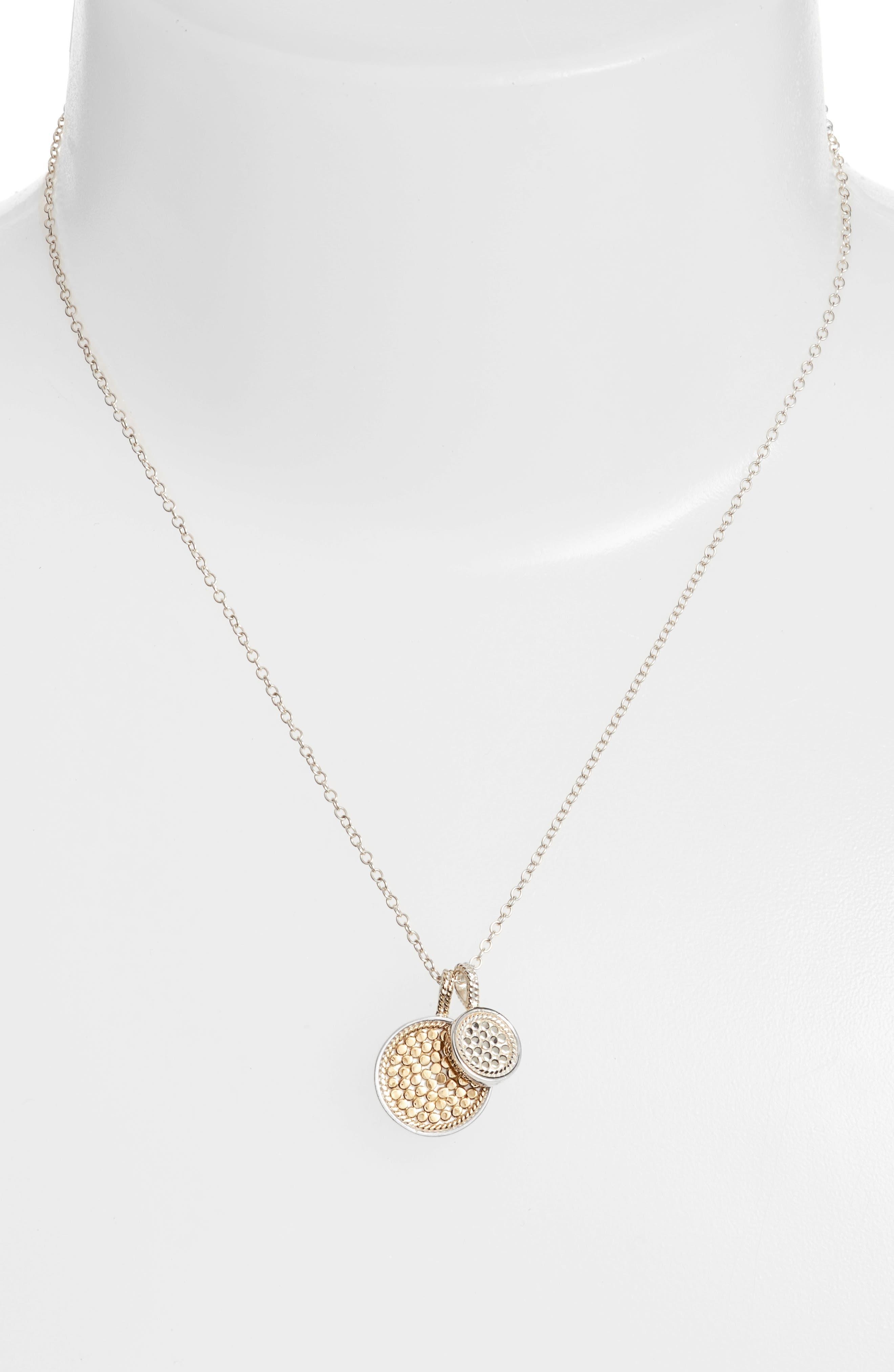 Reversible Disc Pendant Necklace,                         Main,                         color, Gold/ Silver