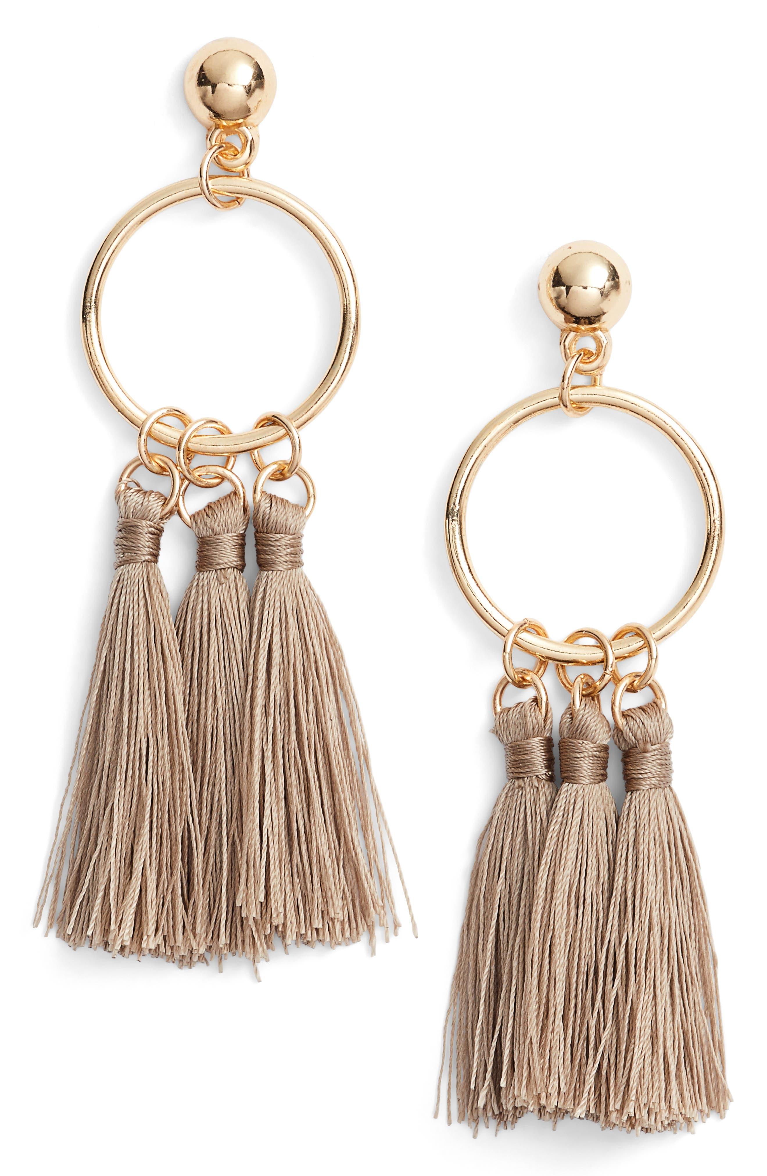Ellie Tassel Hoop Earrings,                         Main,                         color, Tan