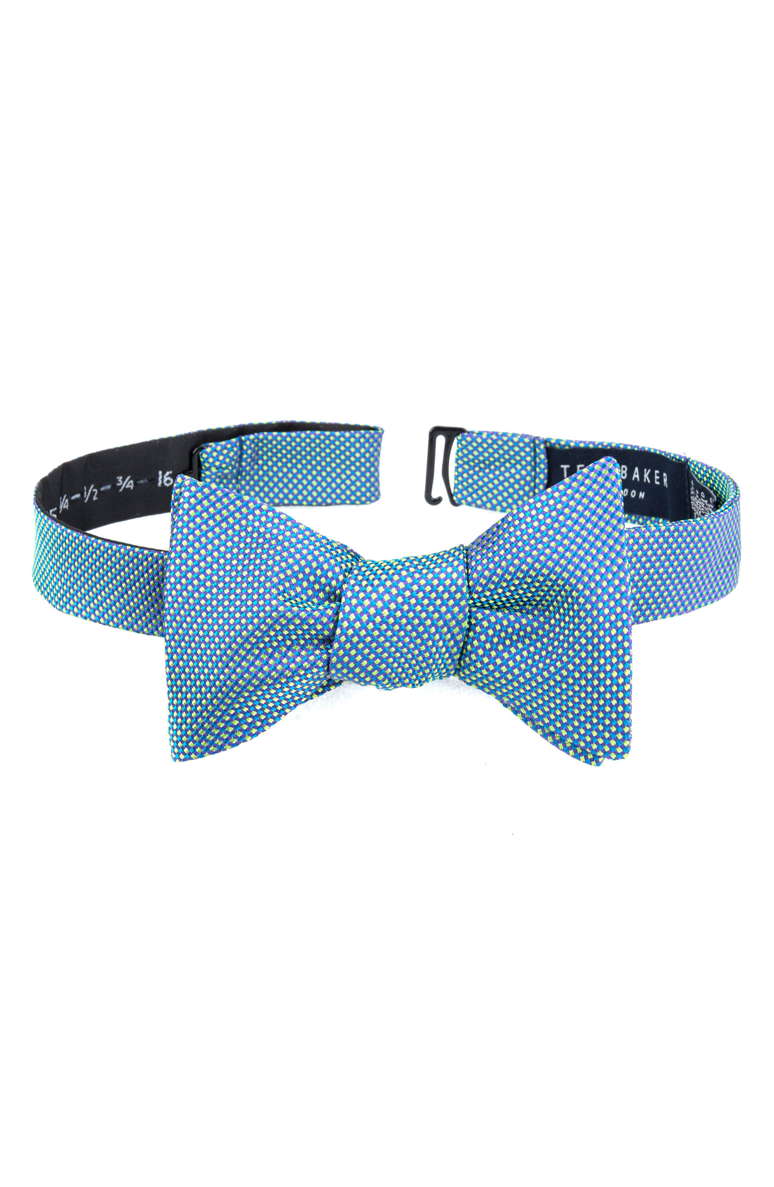 Natte Check Bow Tie,                         Main,                         color, Green