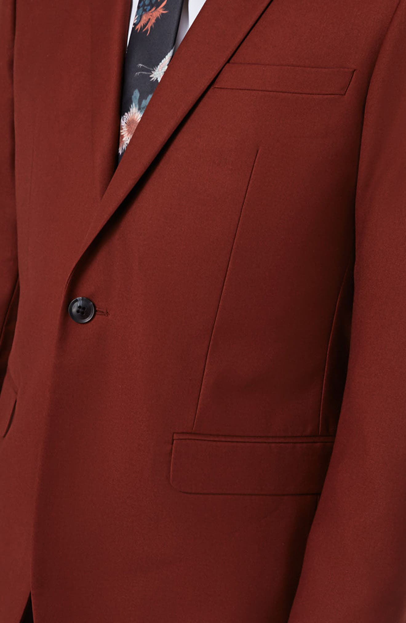 Skinny Fit Suit Jacket,                             Alternate thumbnail 4, color,                             Burgundy