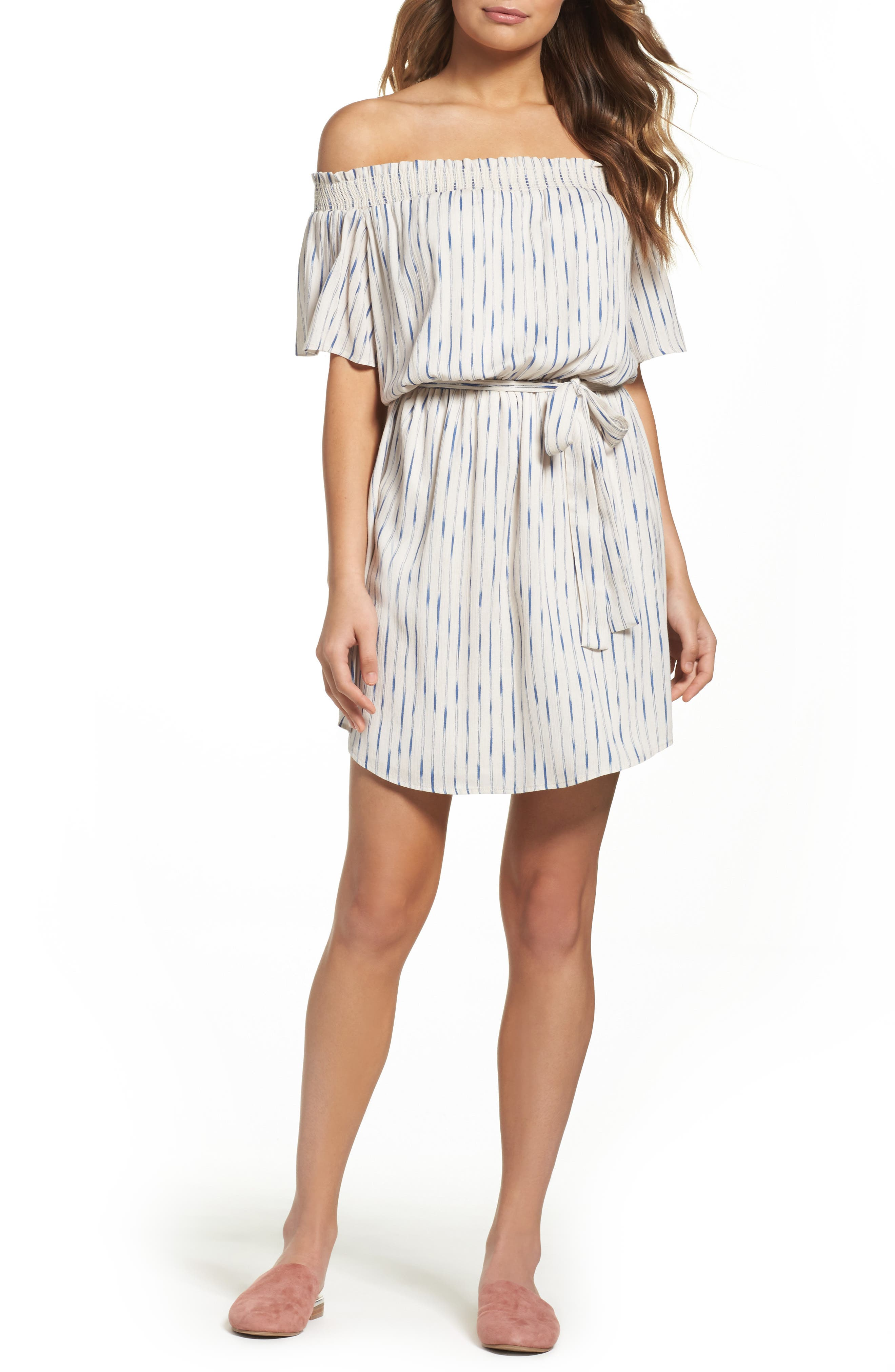 Main Image - Charles Henry Off the Shoulder Dress (Regular & Petite)