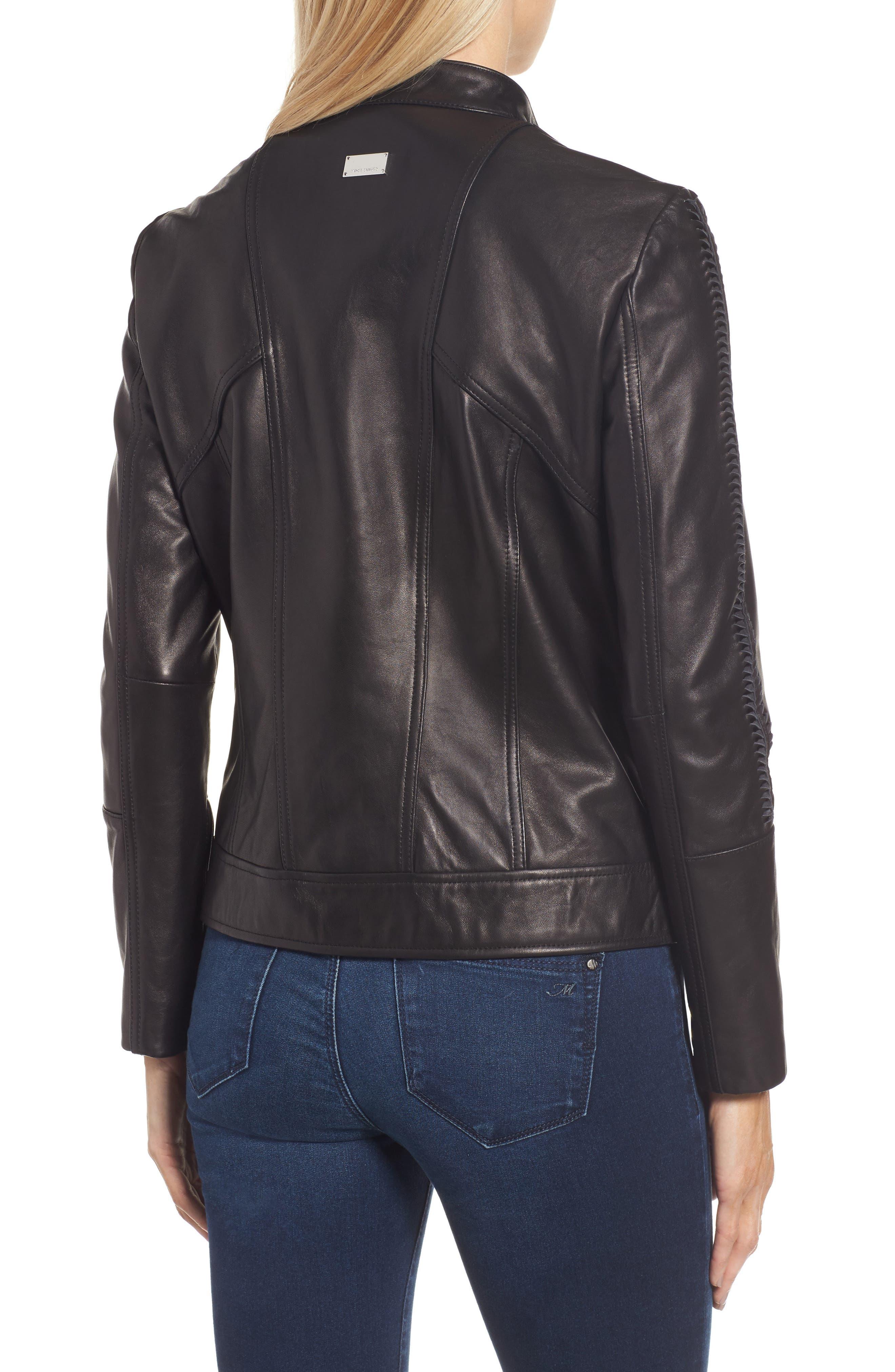 Braid Detail Leather Jacket,                             Alternate thumbnail 2, color,                             Black