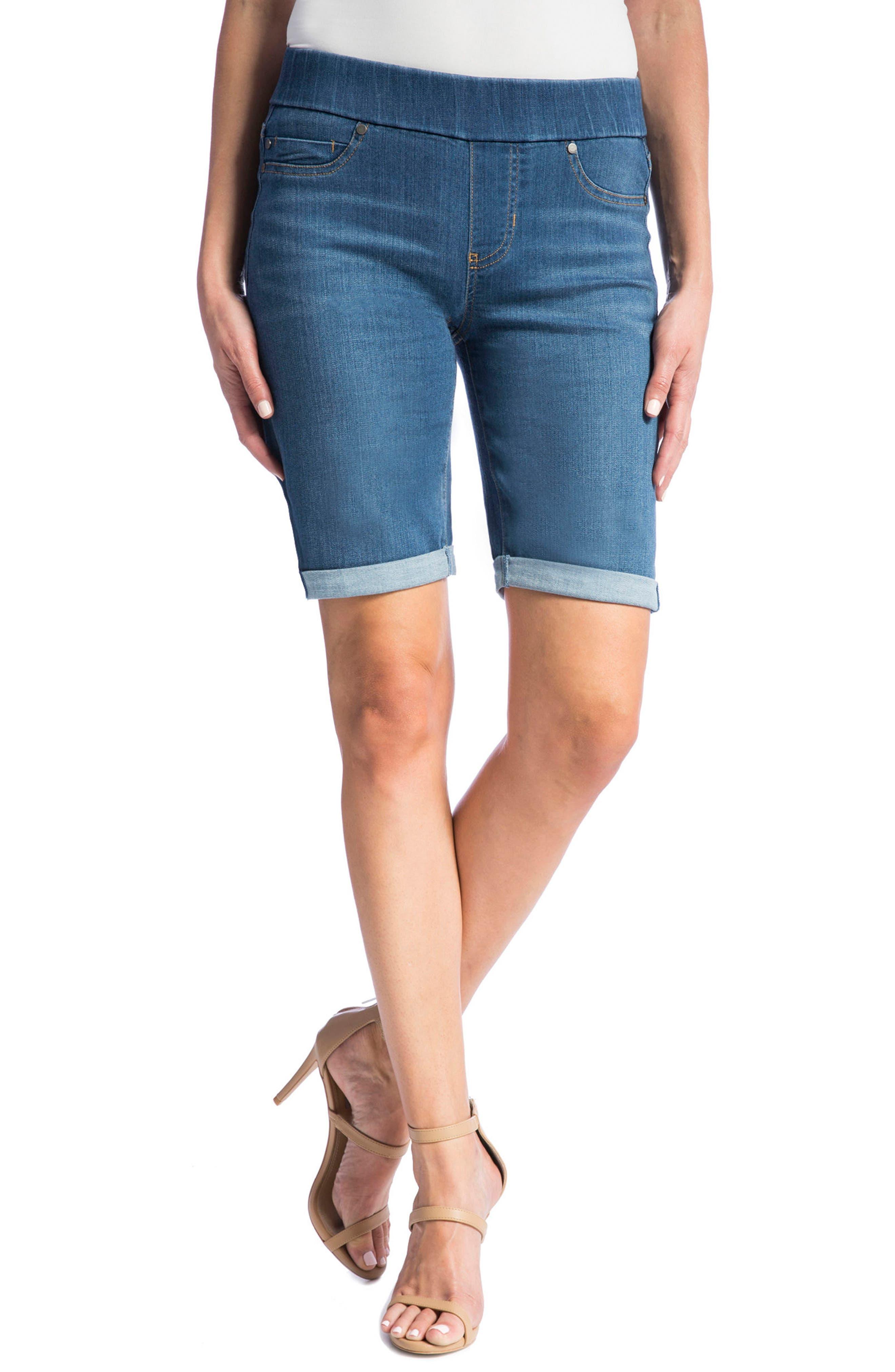 Sienna Pull-On Denim Bermuda Shorts,                         Main,                         color, Coronado Mid