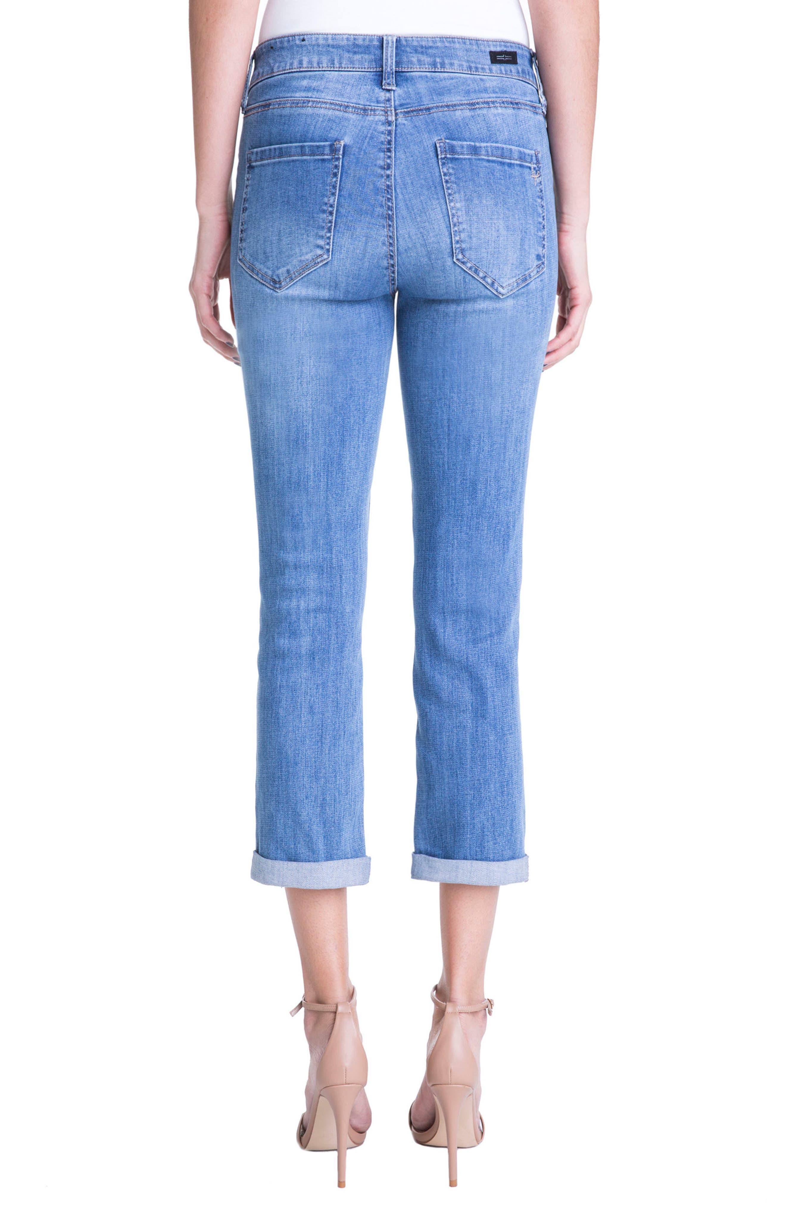 Michelle Distressed Cuff Capri Jeans,                             Alternate thumbnail 2, color,                             Melbourne Light/ Destruction
