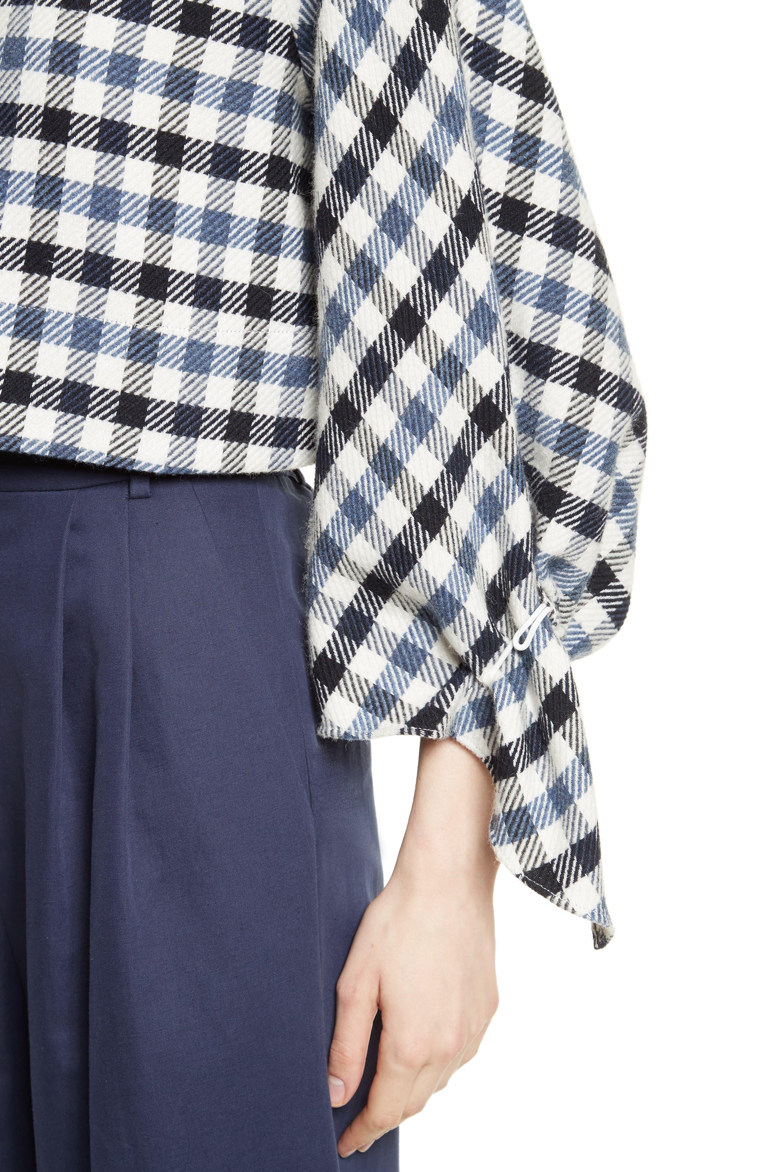 Fairfax Gingham Tie Sleeve Crop Top,                             Alternate thumbnail 4, color,                             Blue Multi