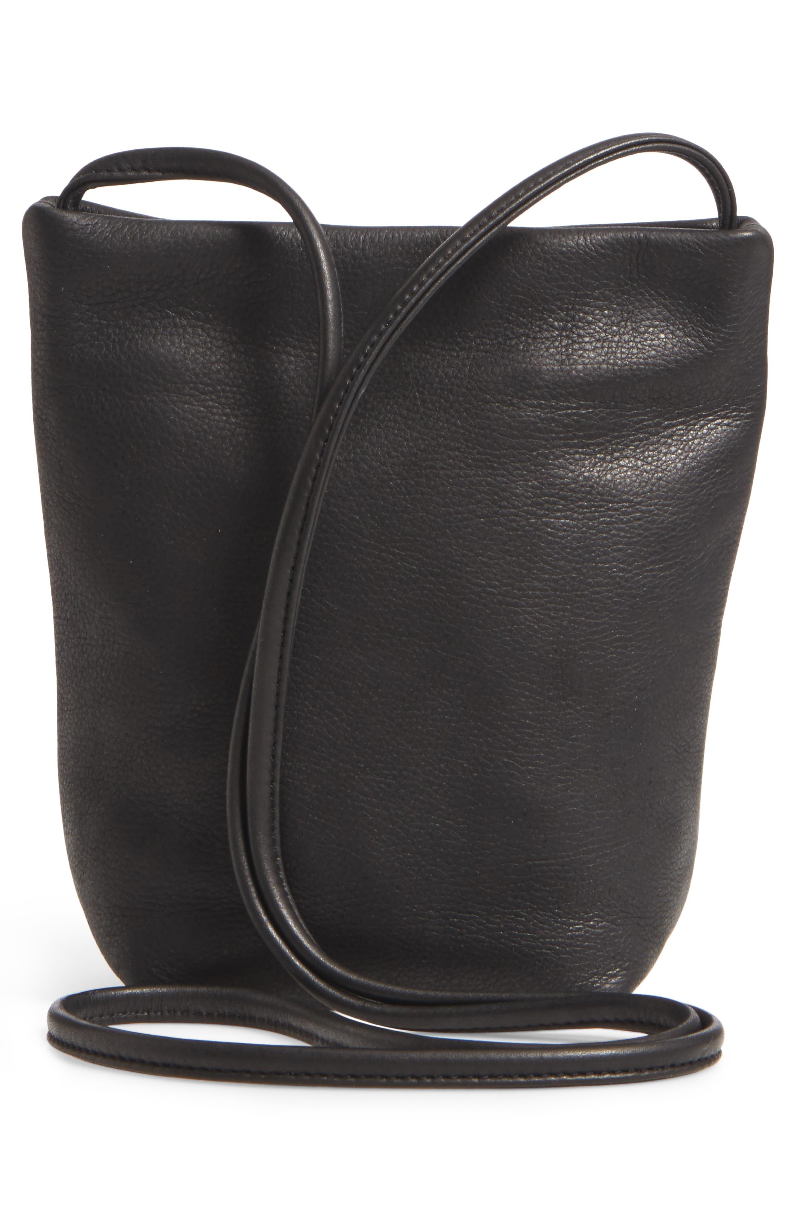 Leather Crossbody Bag,                             Alternate thumbnail 2, color,                             Black