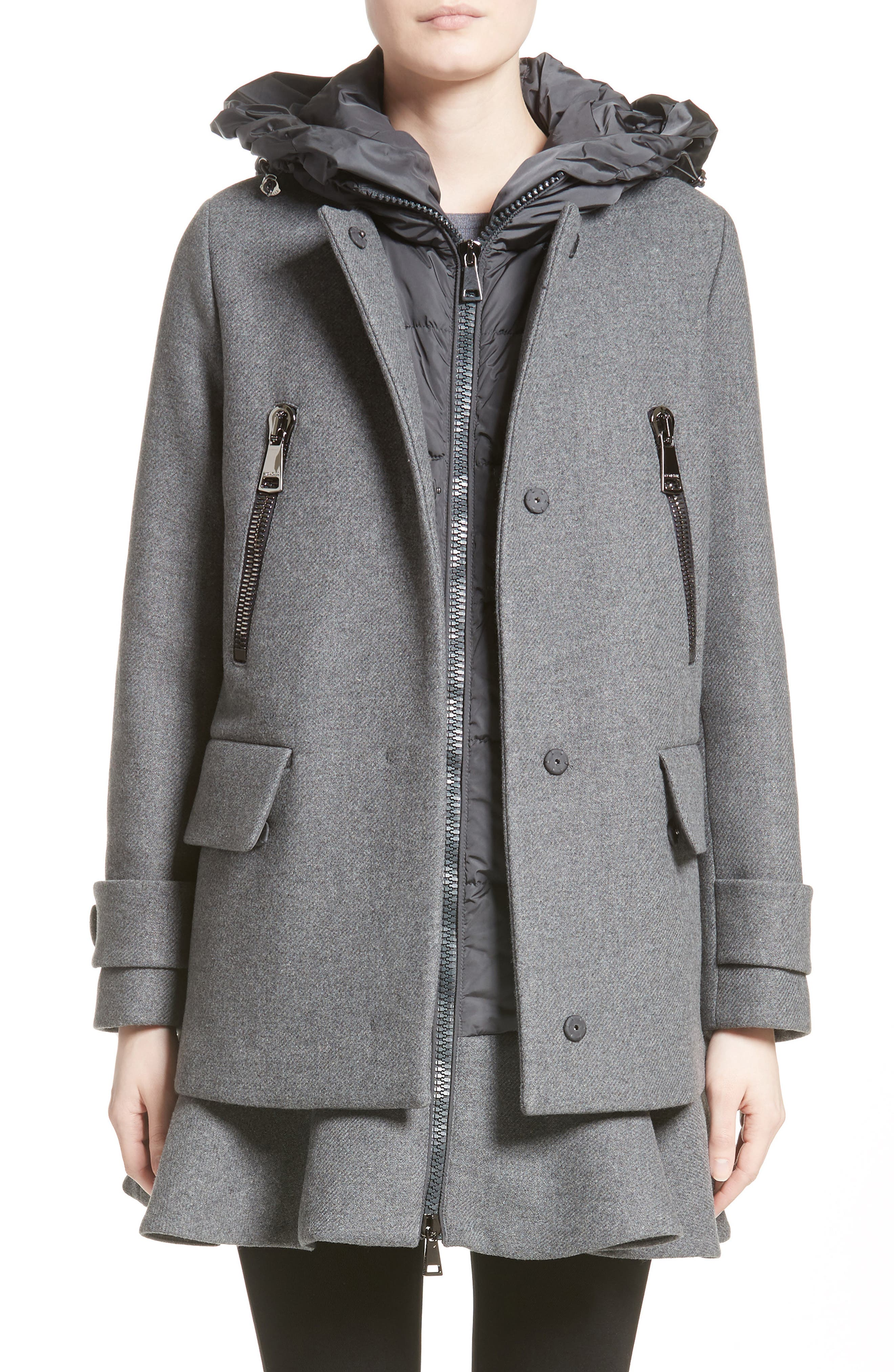MONCLER Phemia Wool Blend Jacket with Removable Hooded Puffer Vest