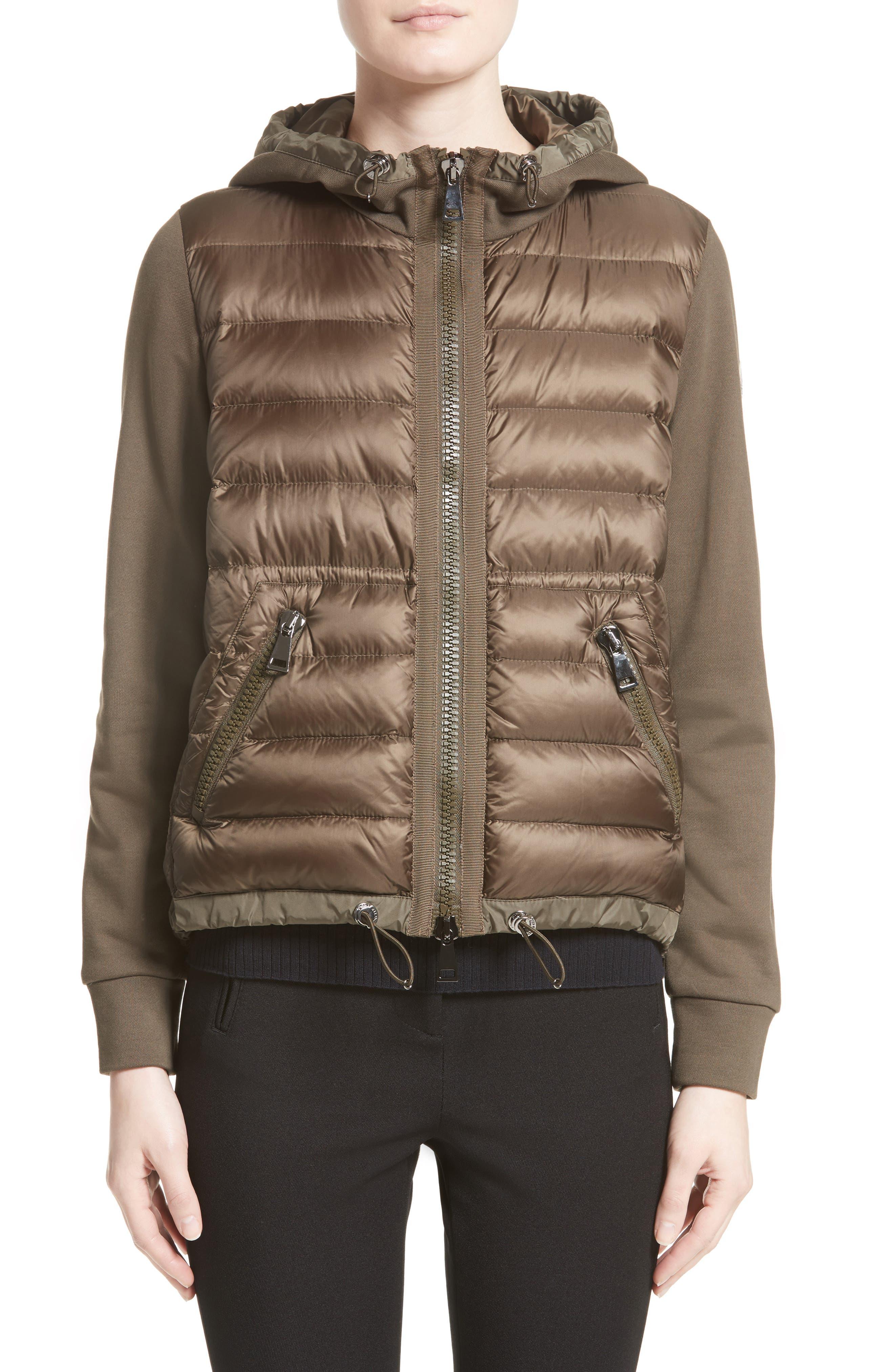 Quilted Front Hooded Jacket,                             Main thumbnail 1, color,                             Olive