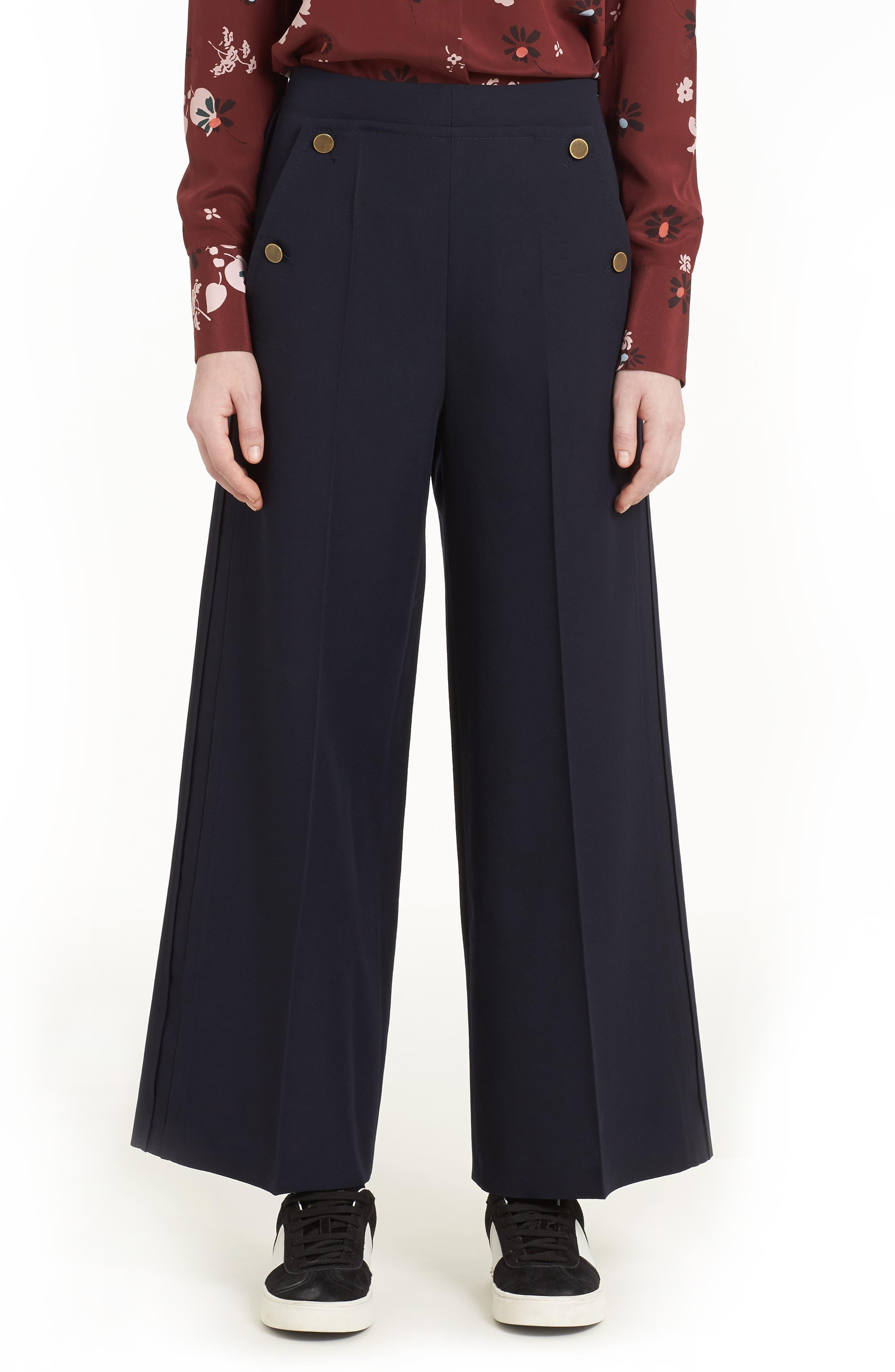 Crop Wool Sailor Pants,                         Main,                         color, Navy