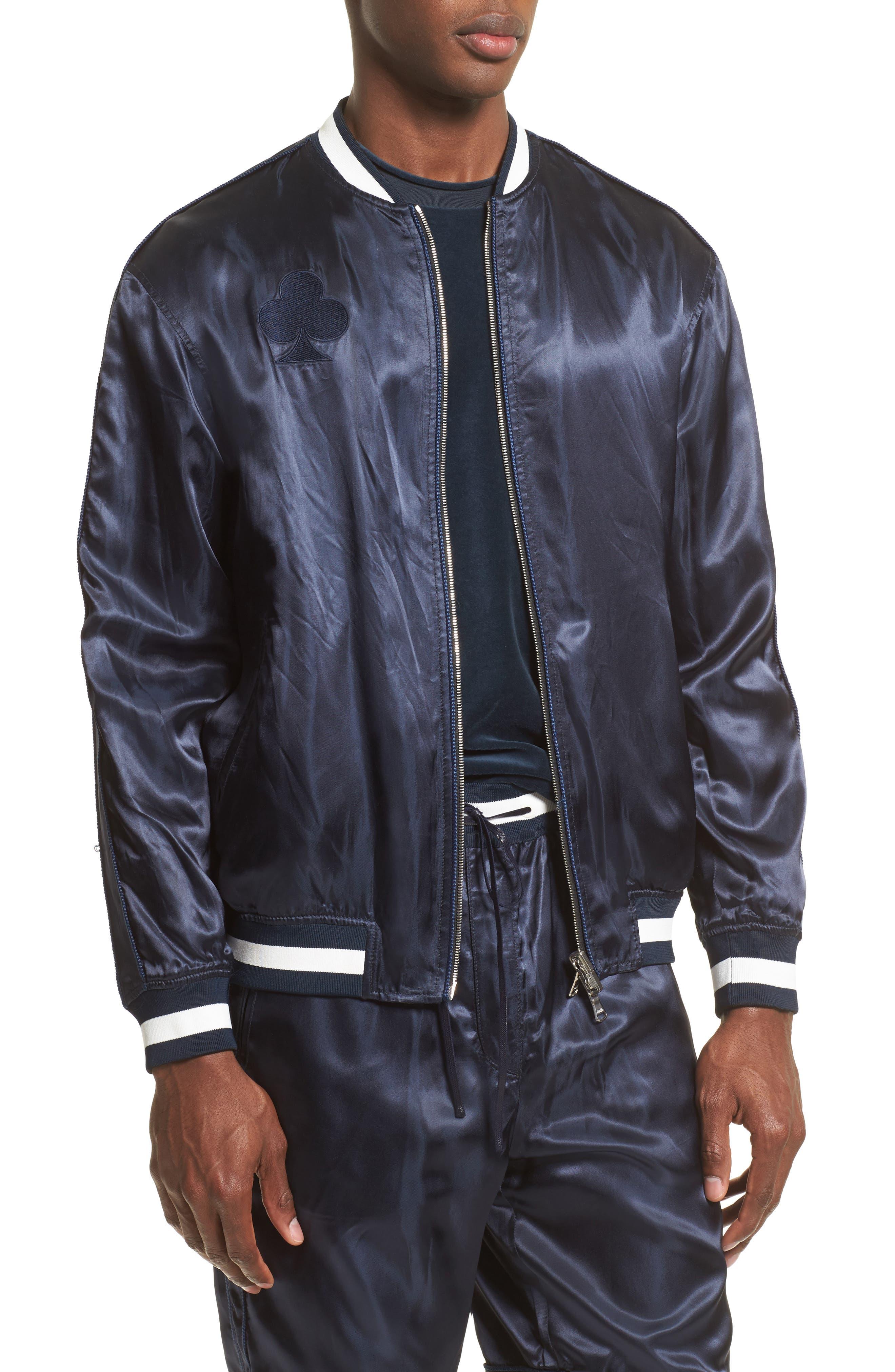 Reversible Baseball Jacket,                             Alternate thumbnail 2, color,                             Black