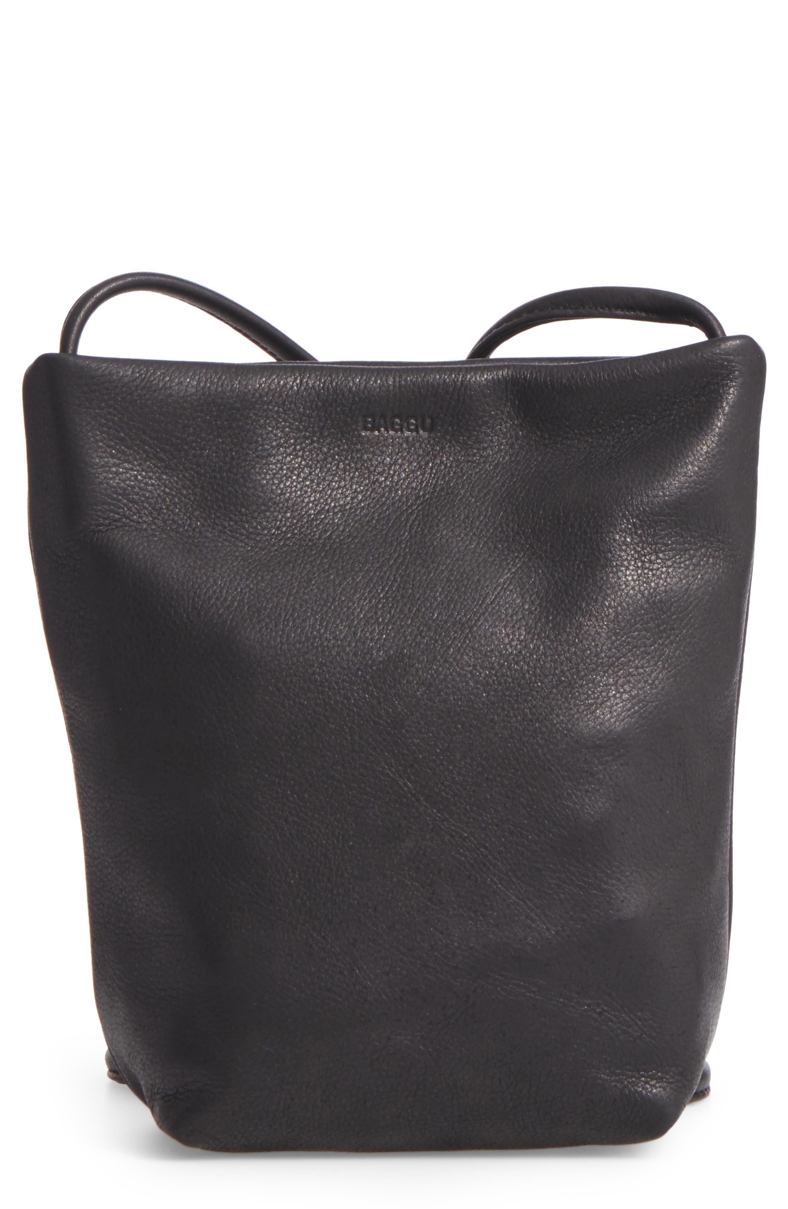 Leather Crossbody Bag,                             Main thumbnail 1, color,                             Black